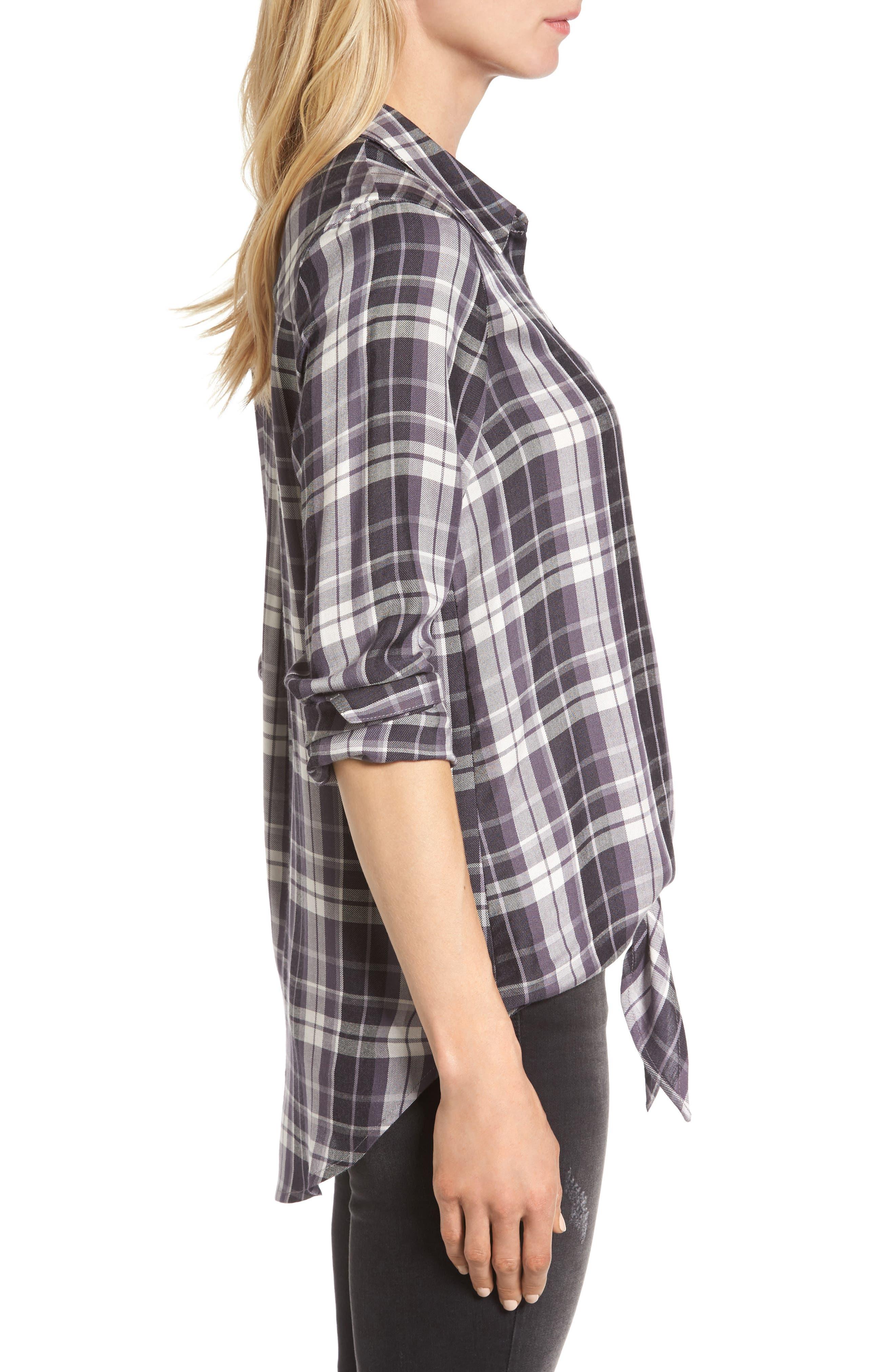 Alternate Image 3  - Bobeau Tie Front Plaid Shirt