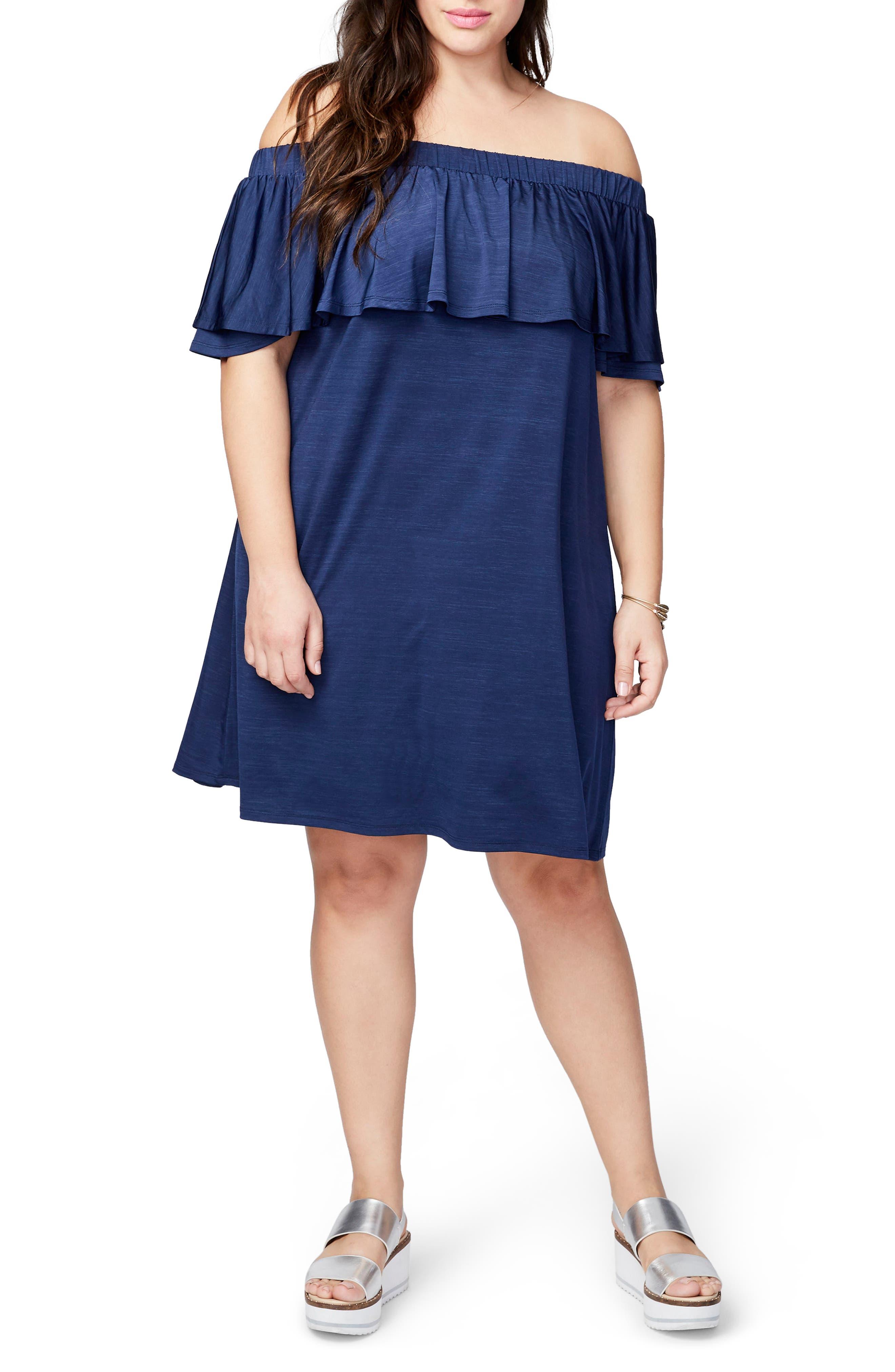 RACHEL Rachel Roy Off the Shoulder Dress (Plus Size)