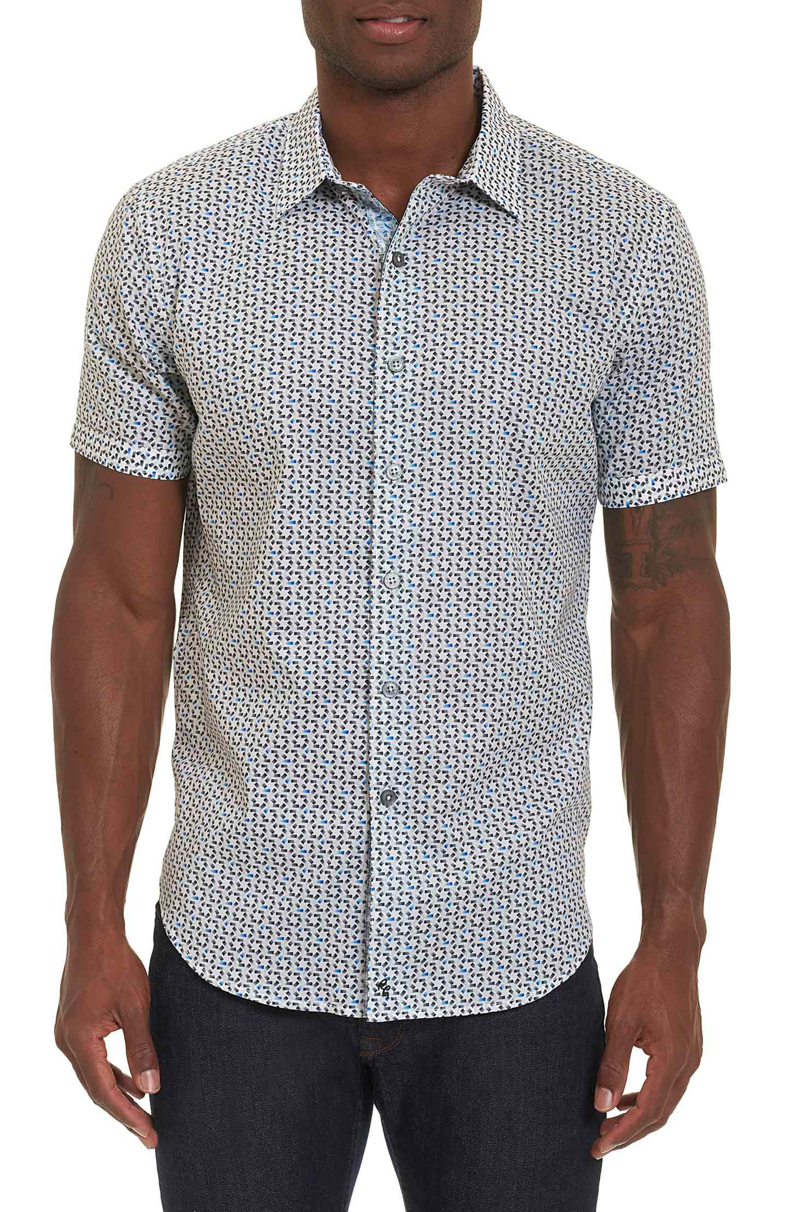 Robert Graham Downey Geo Print Short Sleeve Sport Shirt