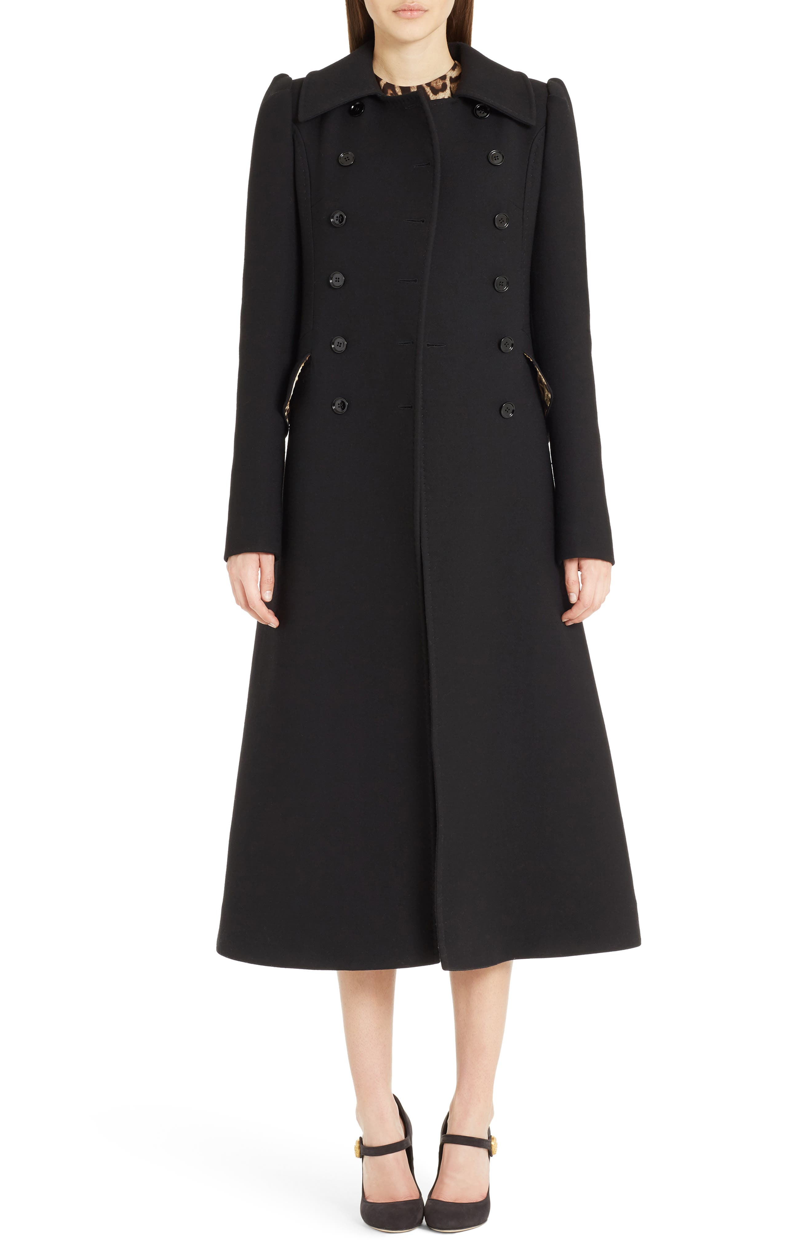 Dolce&Gabbana Wool Double Crepe Long Coat
