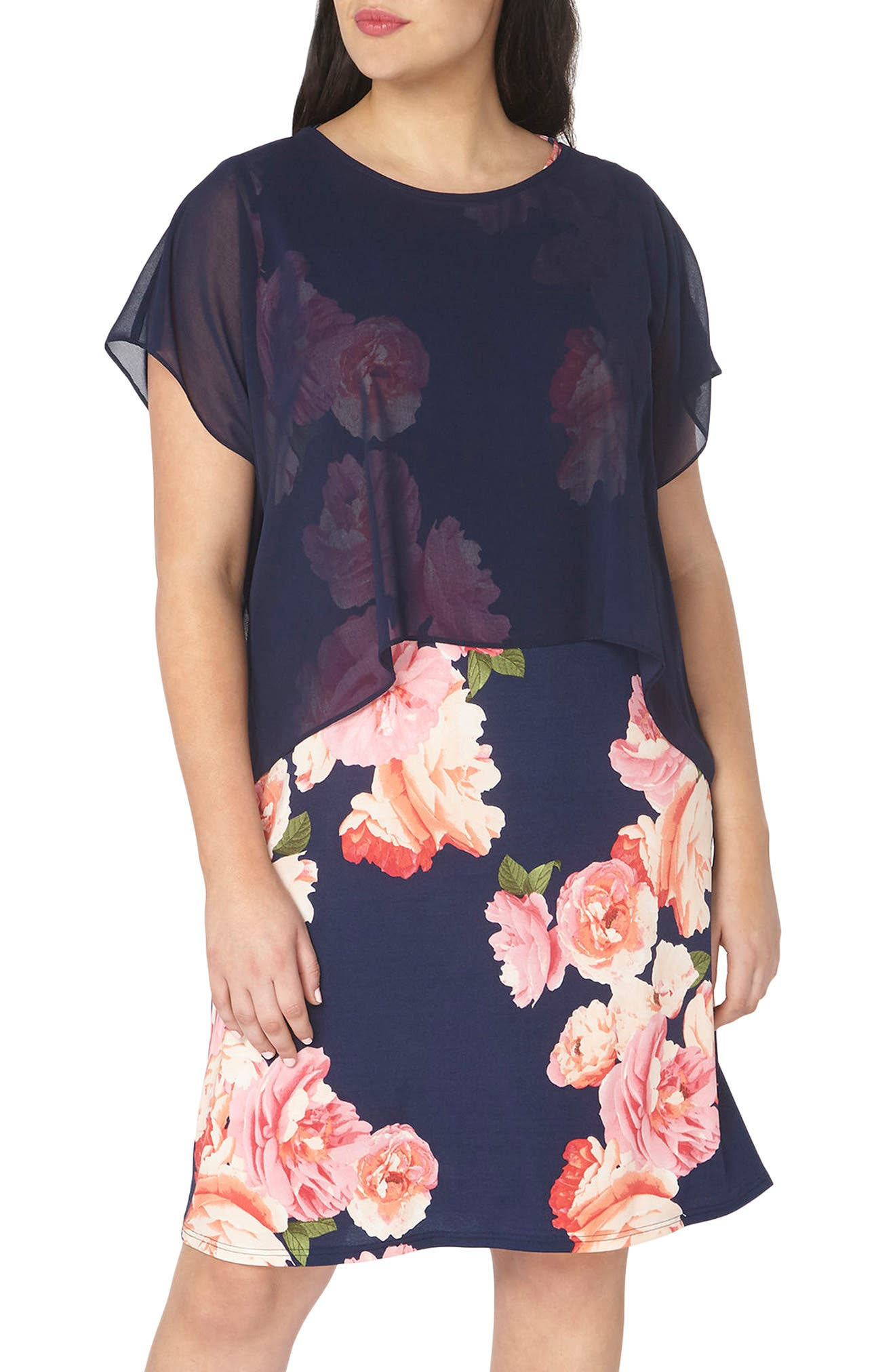 Evans Chiffon Overlay Floral Dress (Plus Size)