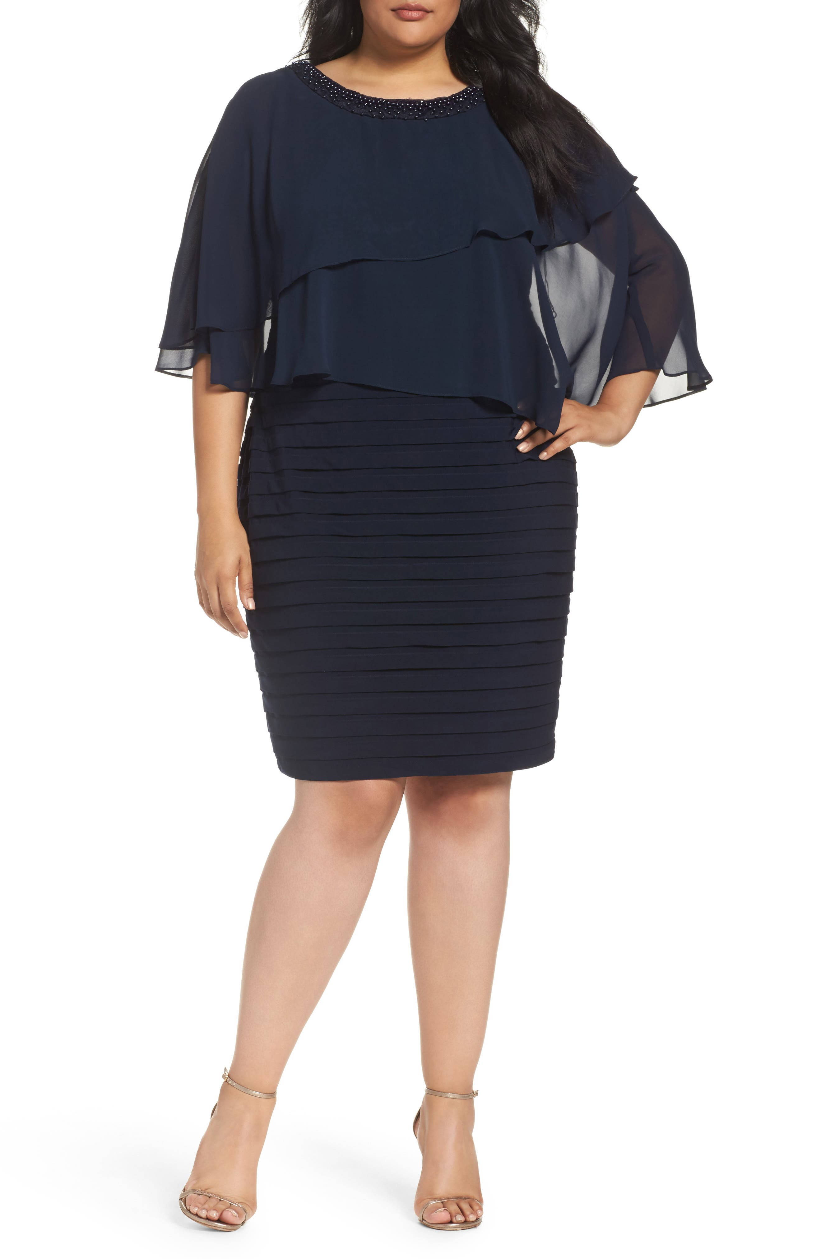 Adrianna Papell Embellished Capelet Sheath Dress (Plus Size)