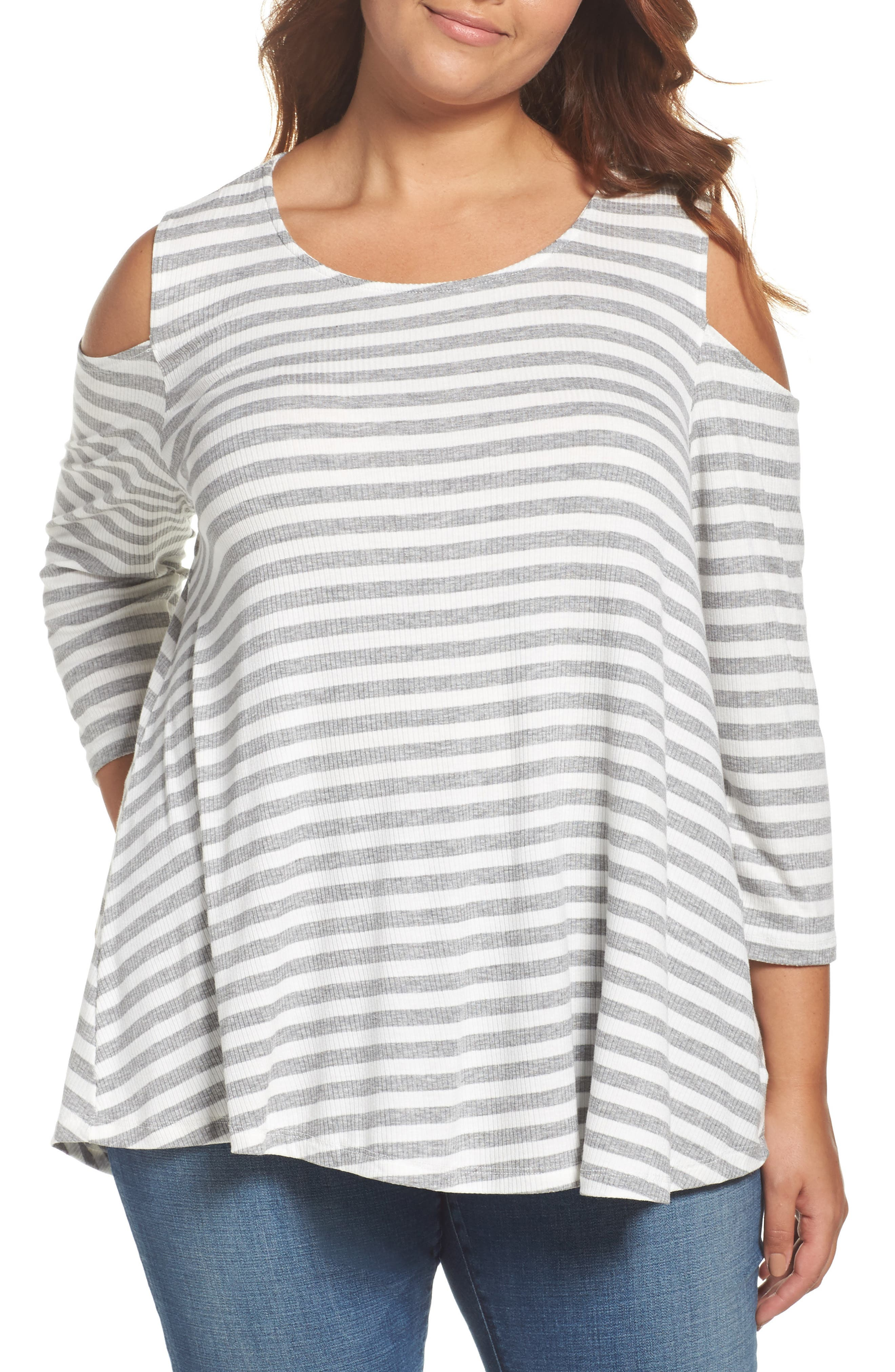 Bobeau Stripe Rib Knit Cold Shoulder Top (Plus Size)