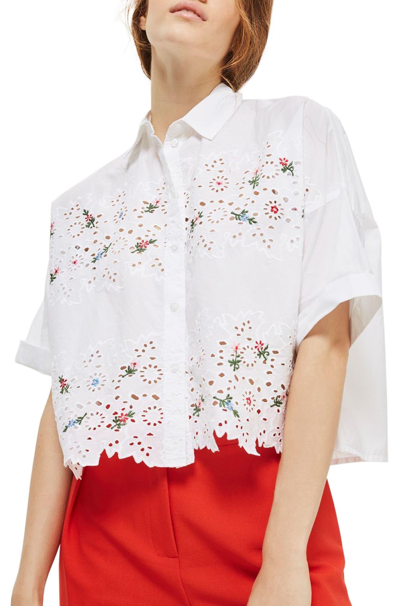 Topshop Kady Embroidered Eyelet Shirt (Regular & Petite)