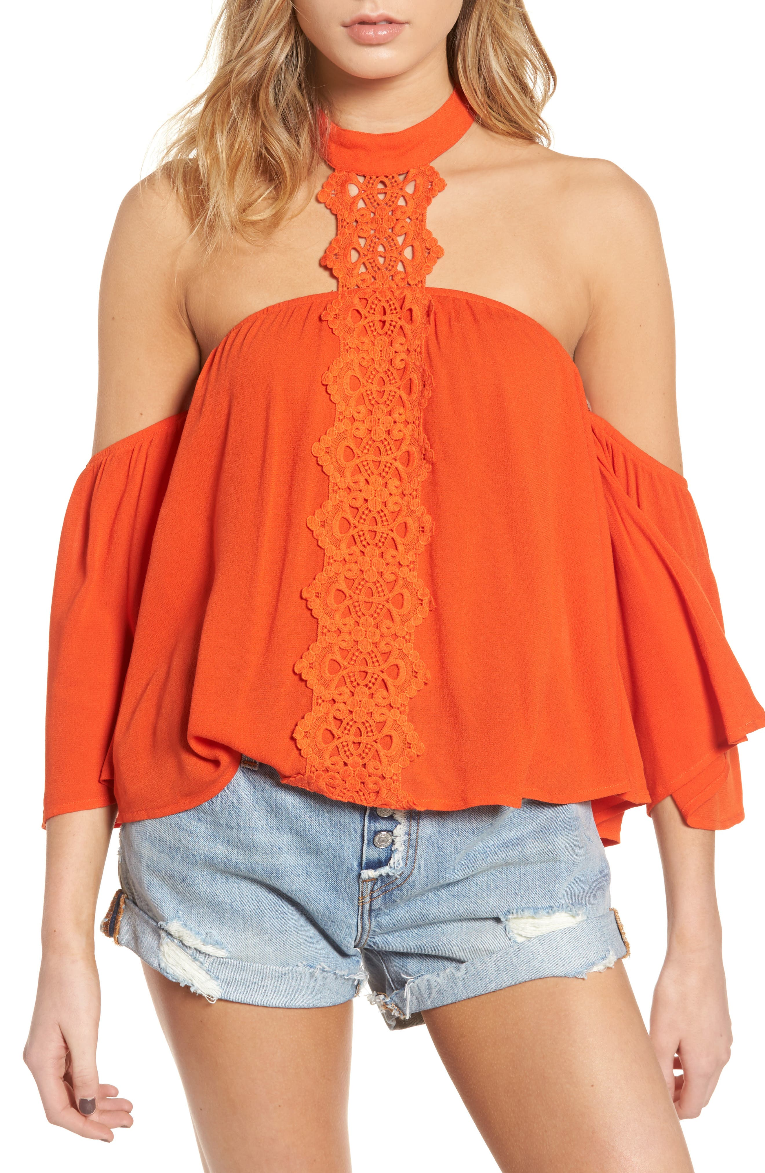 BP. Crochet Off the Shoulder Halter Top