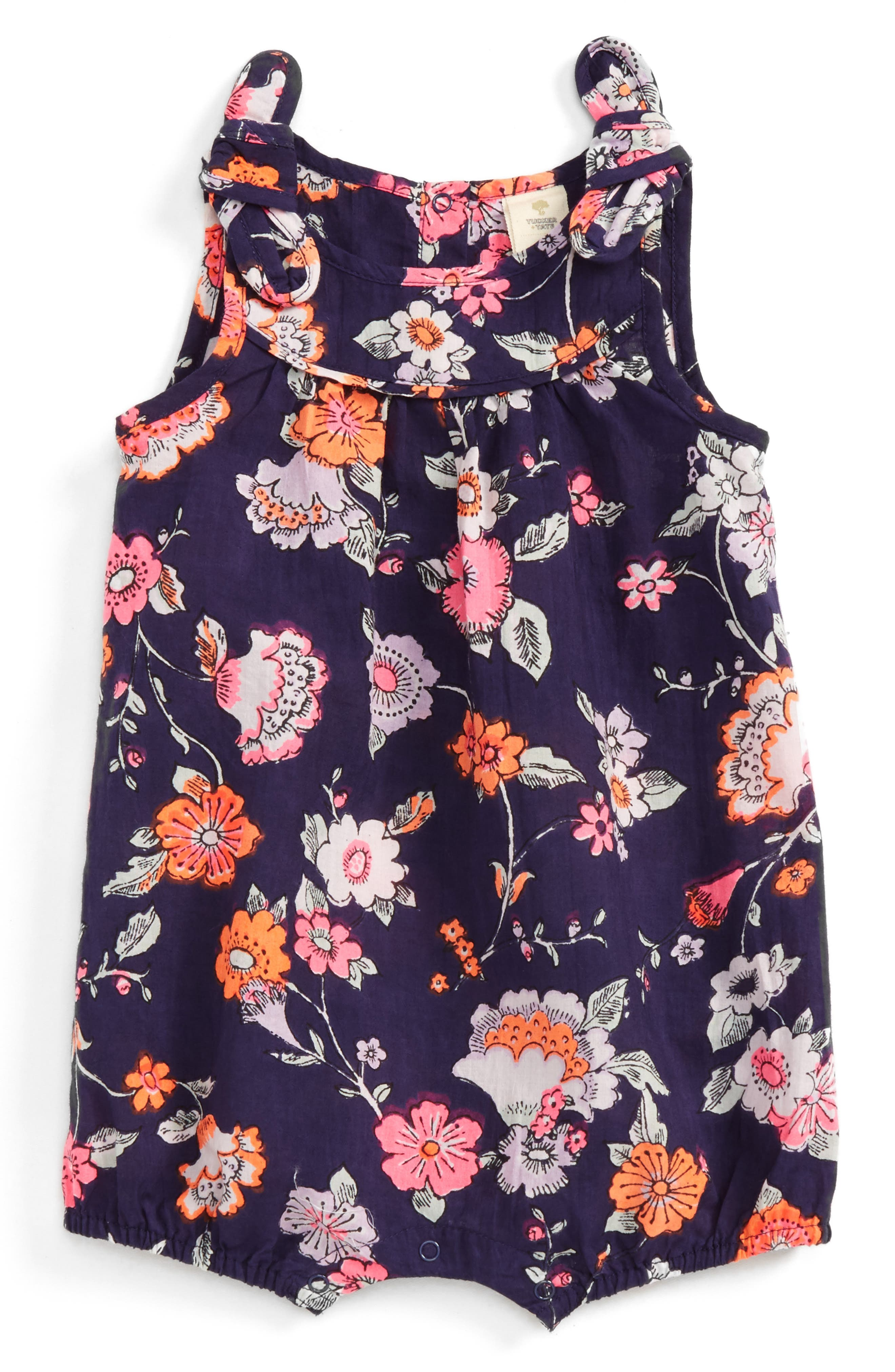 Tucker + Tate Floral Print Romper (Baby Girls)