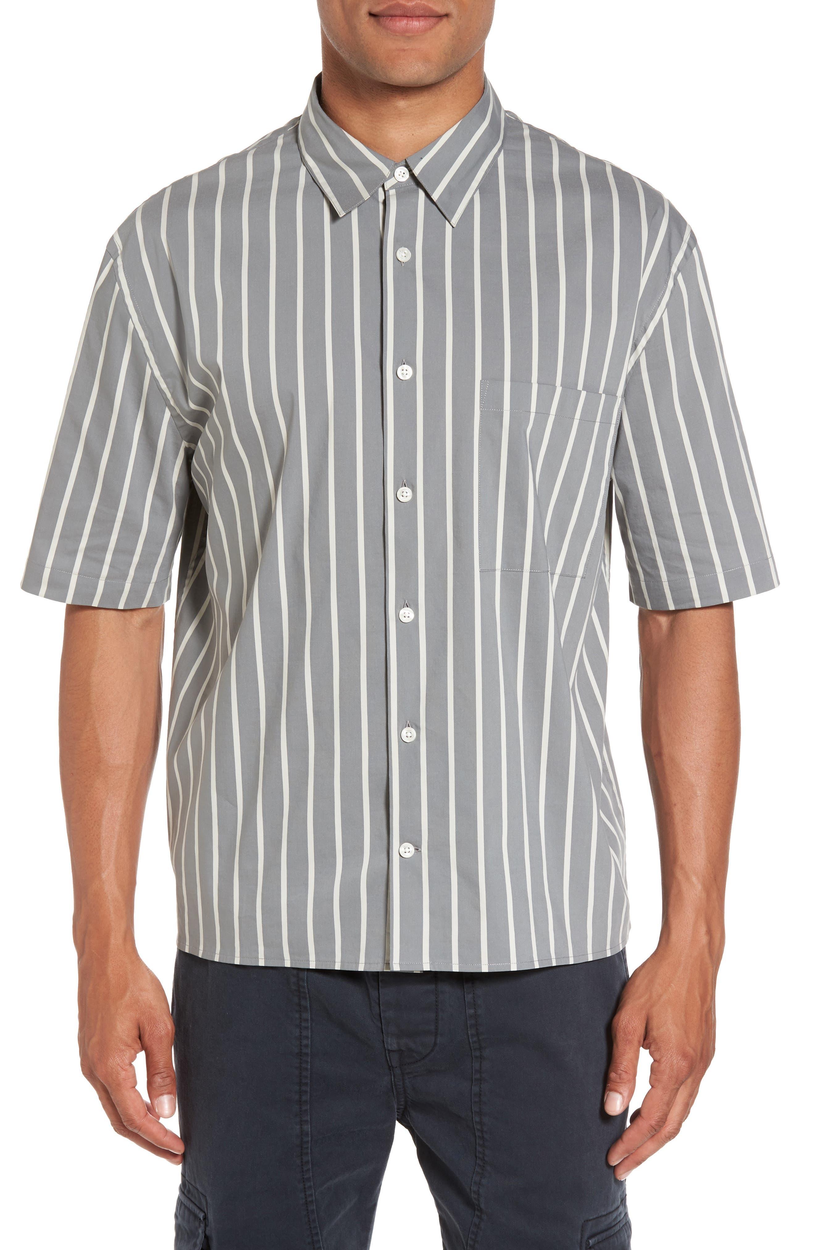 Vince Regular Fit Stripe Short Sleeve Sport Shirt