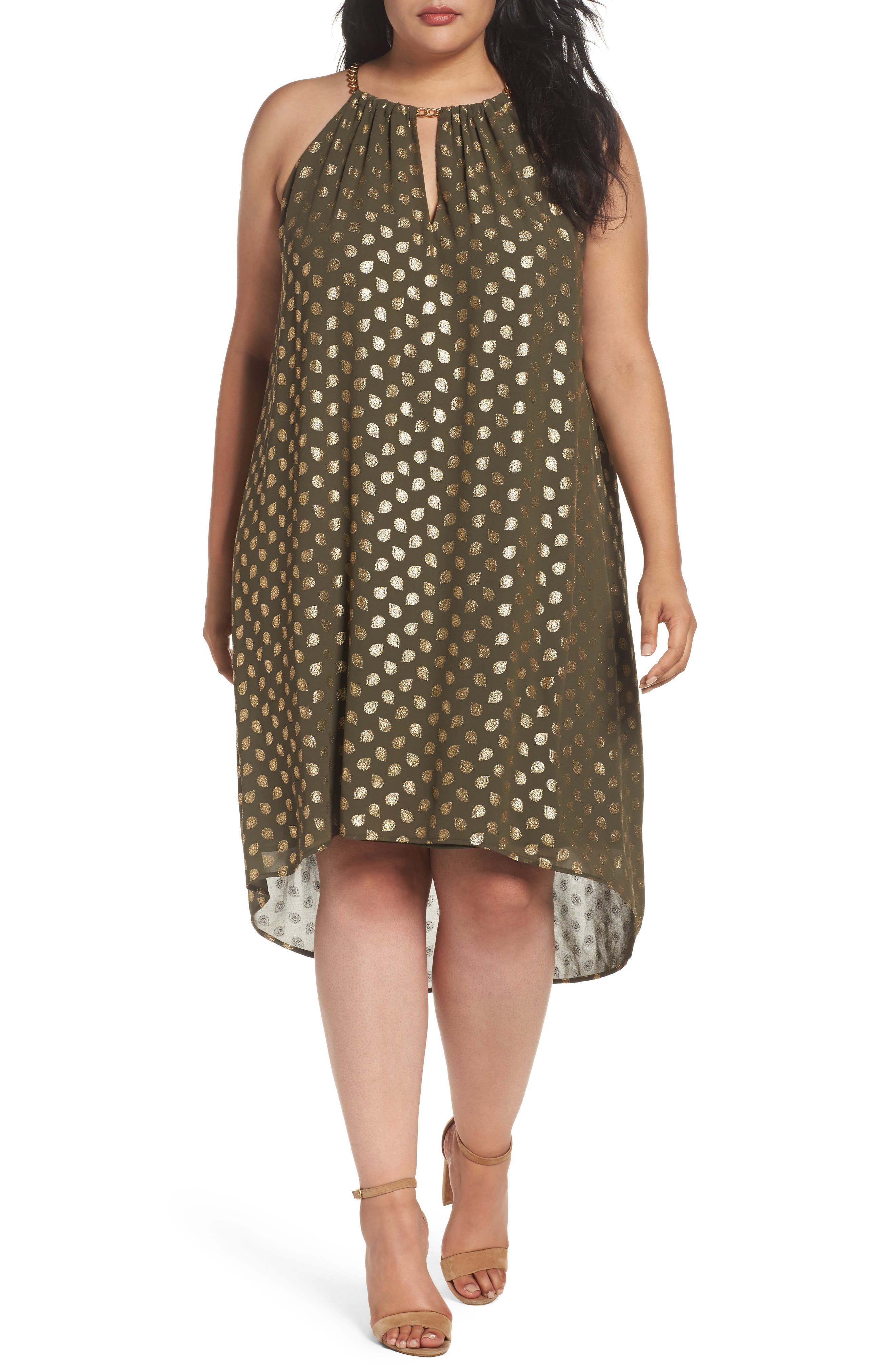 MICHAEL Michael Kors Bergalia Foiled Chain Neck Trapeze Dress (Plus Size)