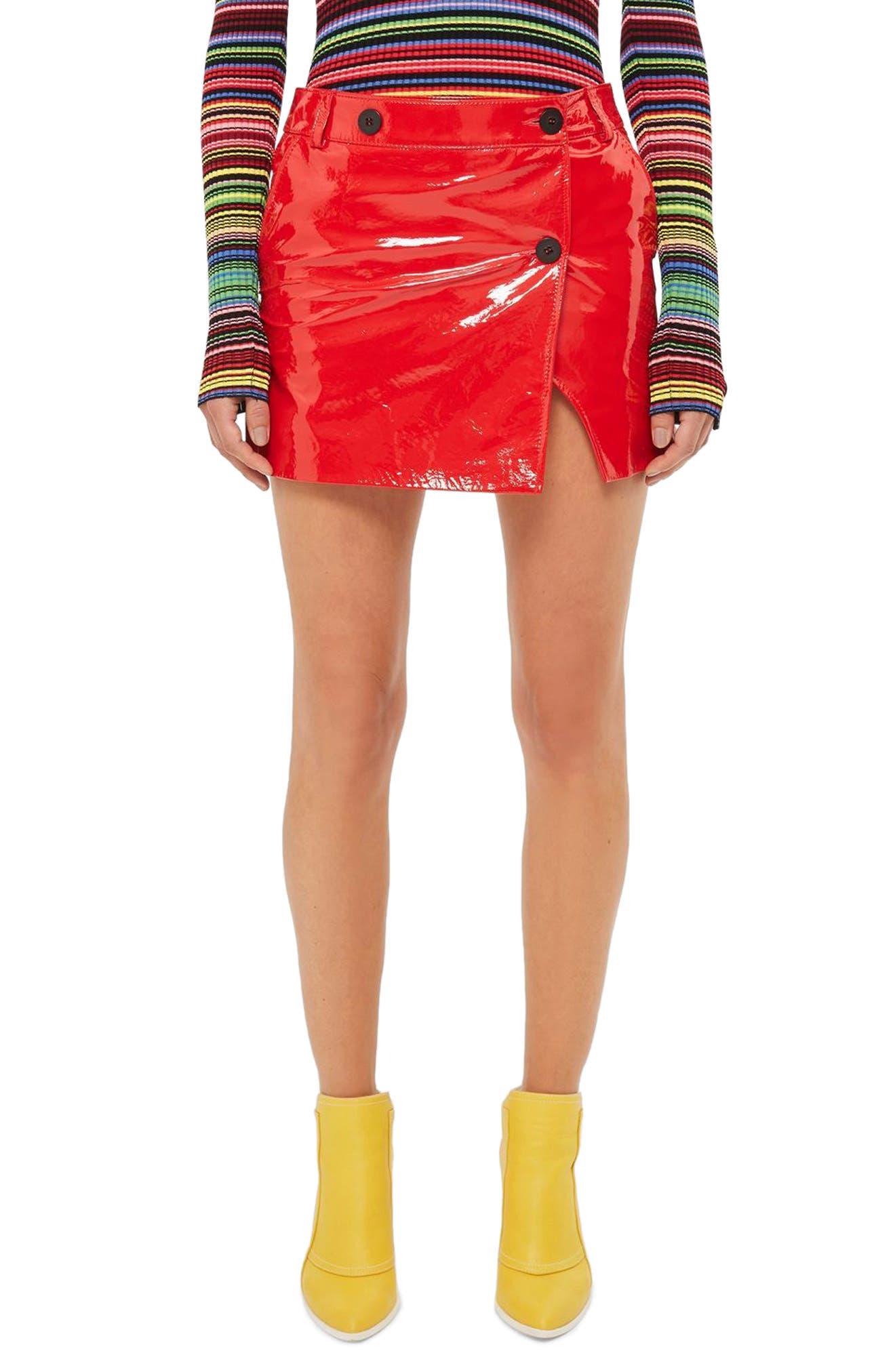 Topshop Unique Heaton Leather Mini Wrap Skirt