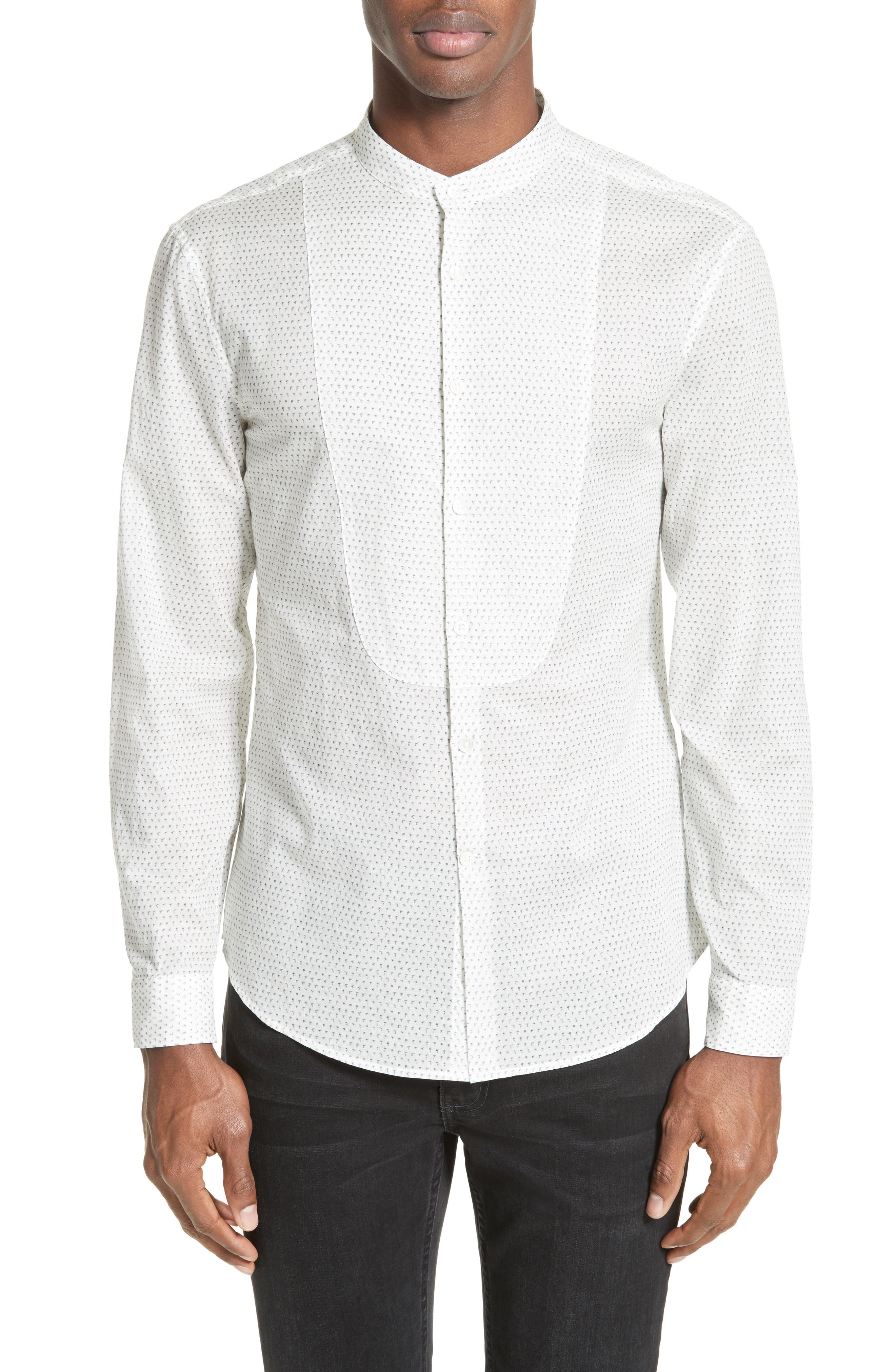 John Varvatos Collection Bib Front Print Sport Shirt
