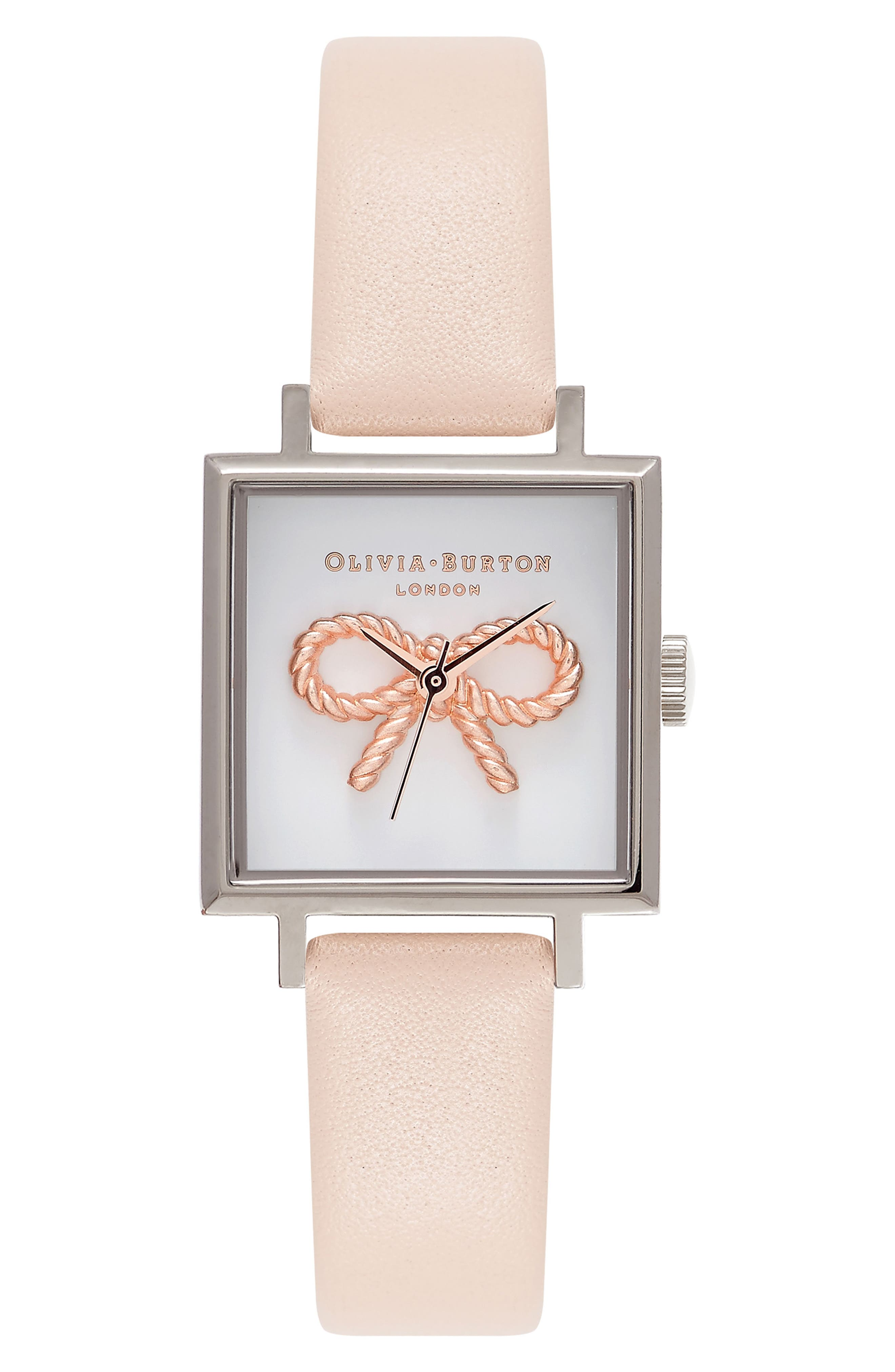 Olivia Burton Vintage Bow Square Leather Strap Watch, 23mm