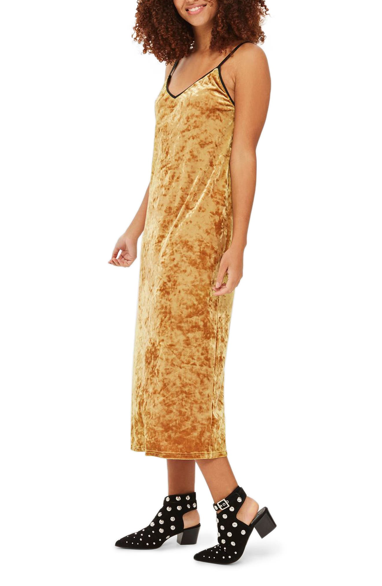 Topshop Crushed Velvet Midi Slipdress