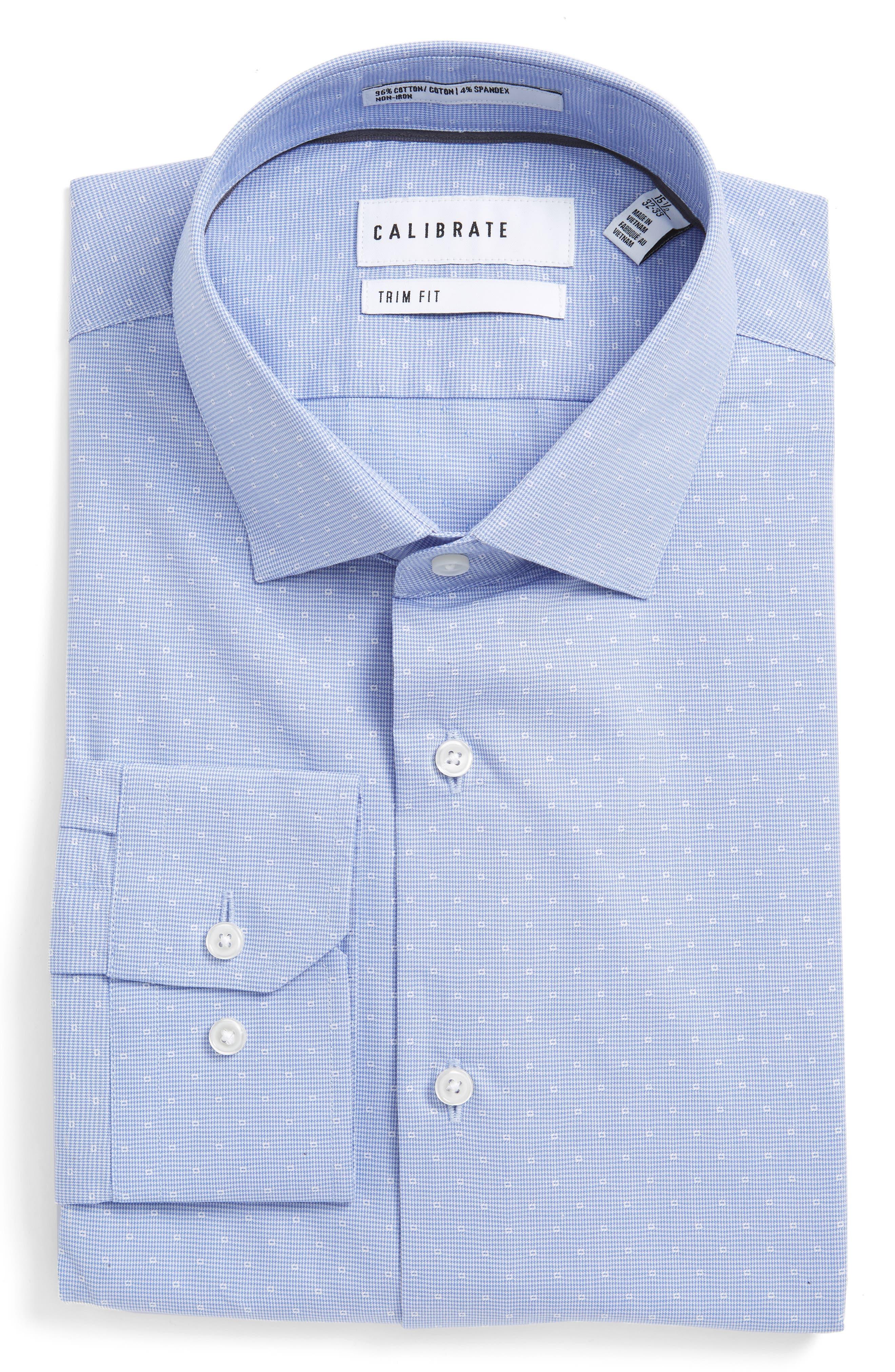 Calibrate Trim Fit Non-Iron Stretch Houndstooth Dress Shirt