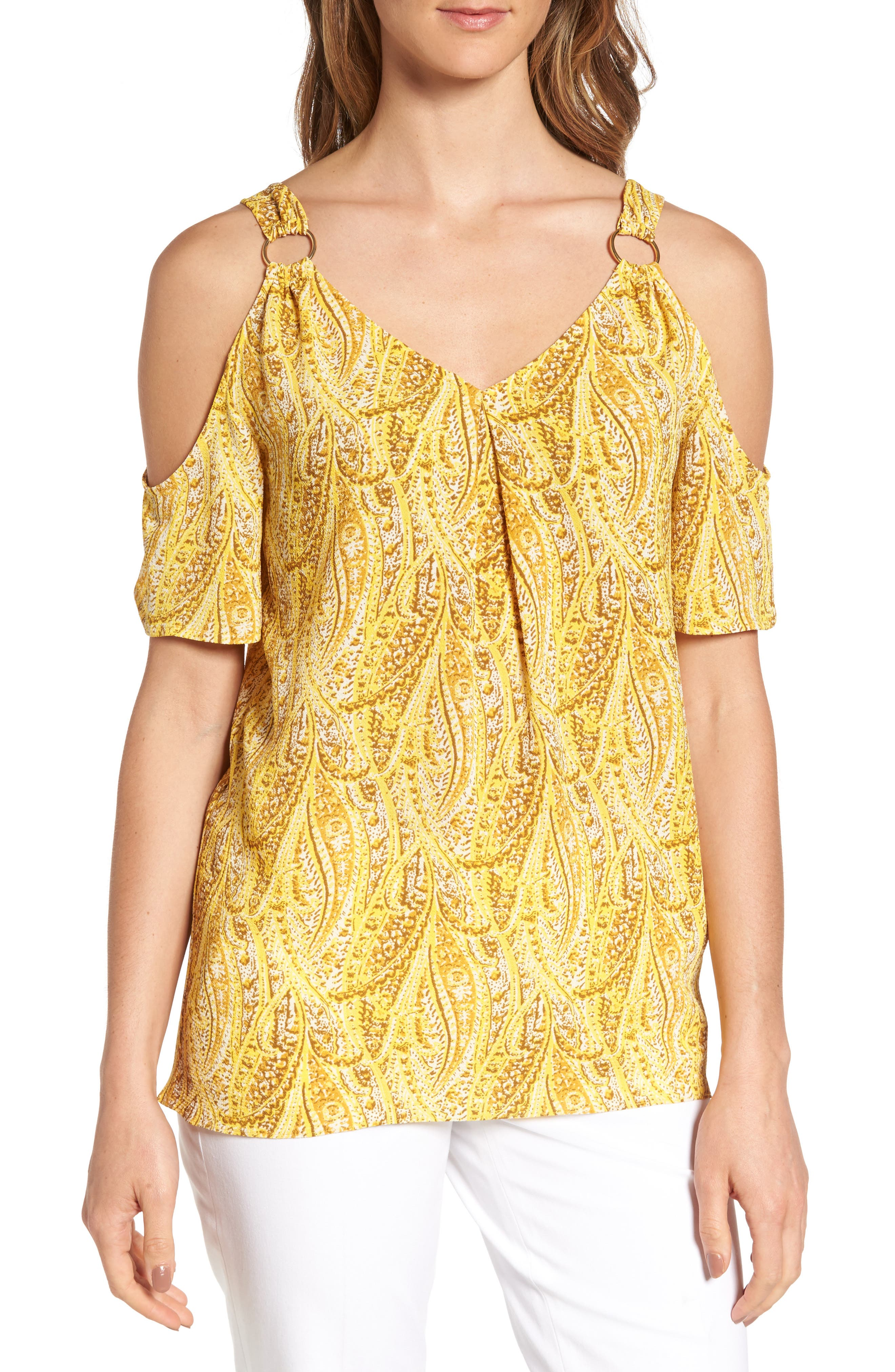 MICHAEL Michael Kors Hatcher Cold Shoulder Top