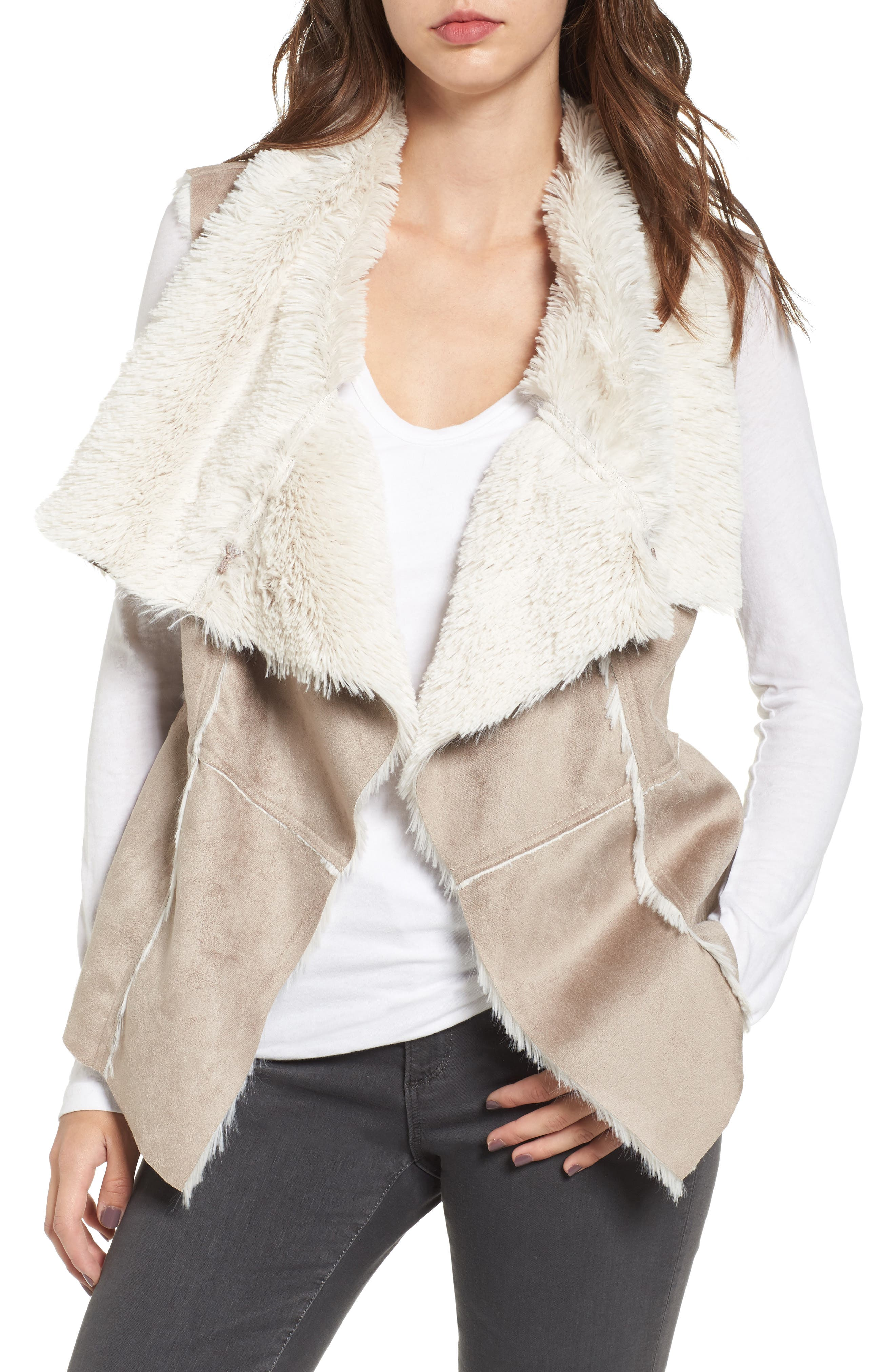 cupcakes and cashmere Arden Faux Shearling Drape Vest