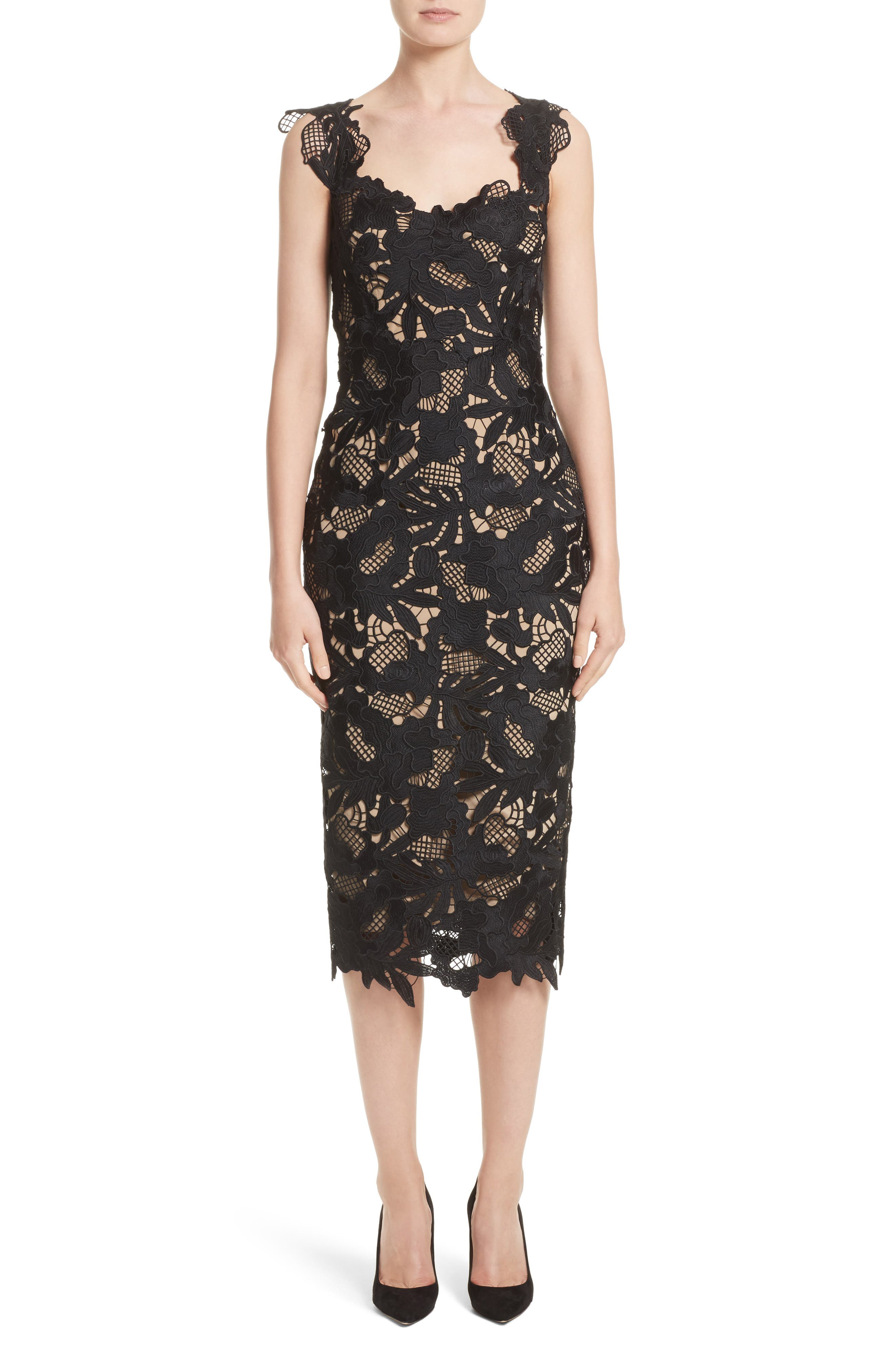 Lela Rose Lace Sheath Dress