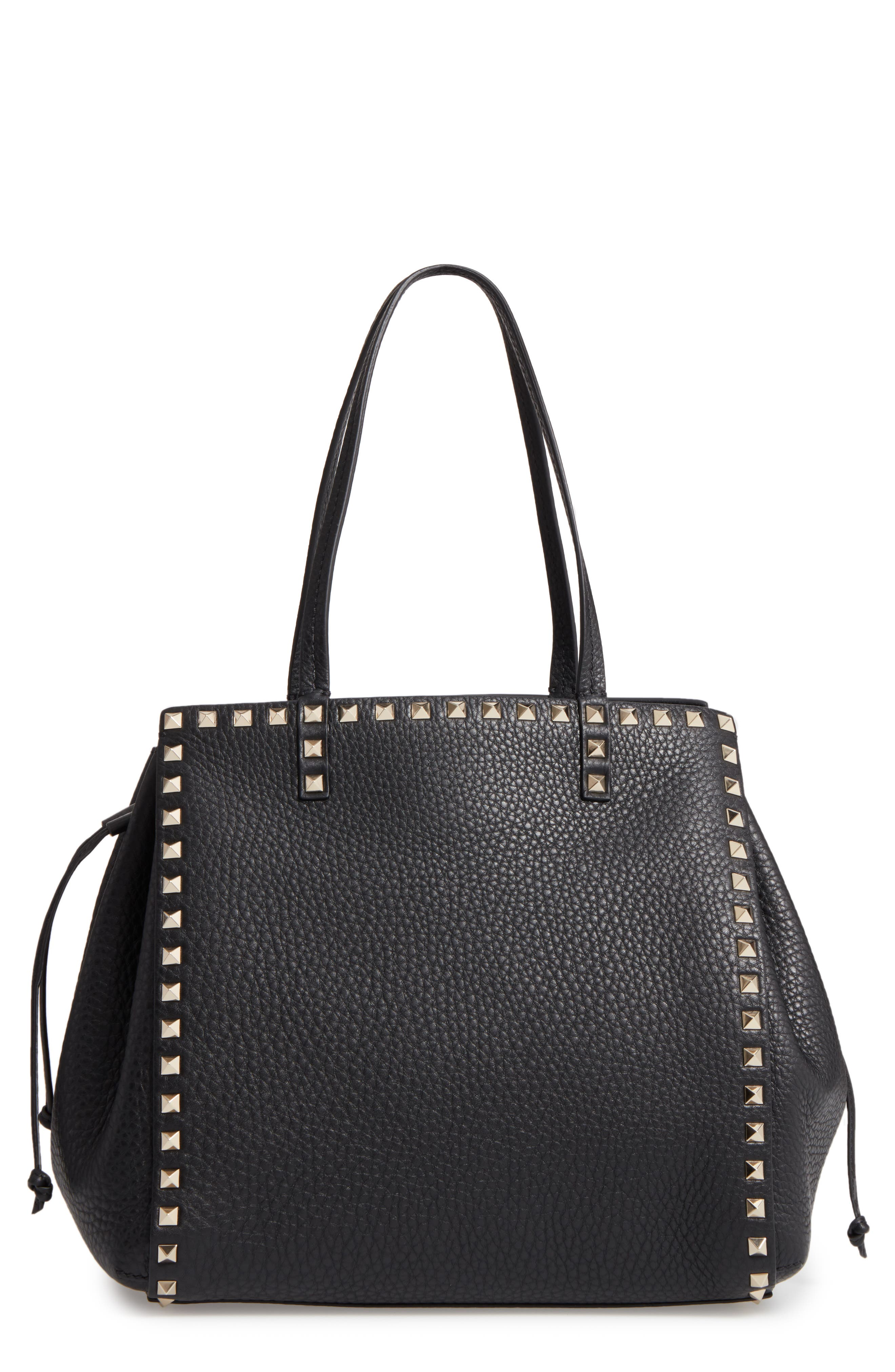 Valentino Rockstud Double Handle Leather Drawstring Tote