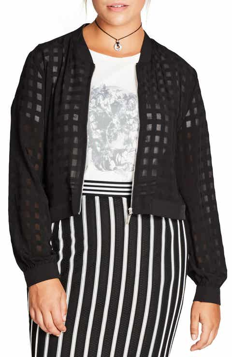 City Chic Mesh Check Jacket (Plus Size)