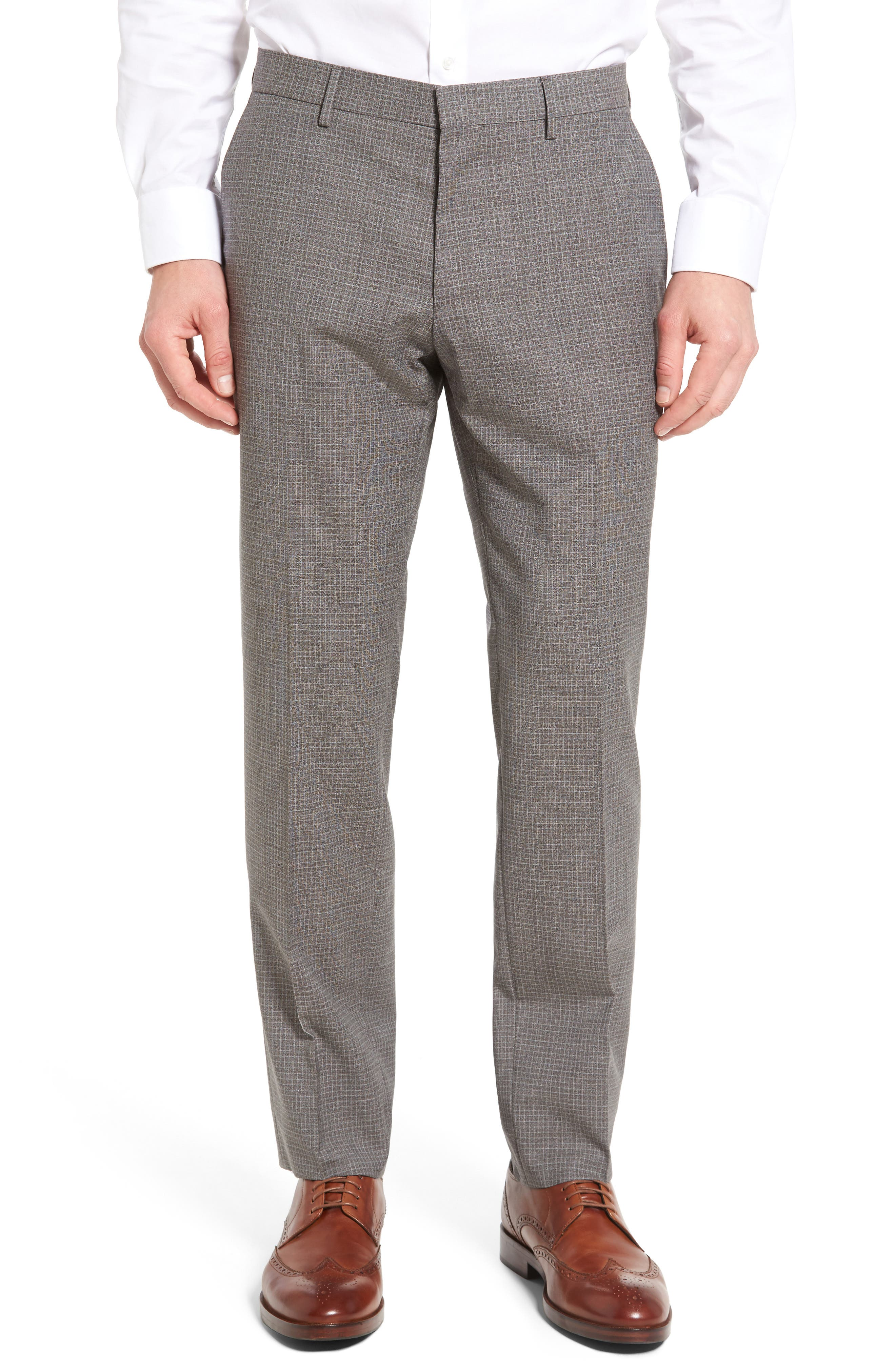 BOSS Genesis Flat Front Check Wool Trousers