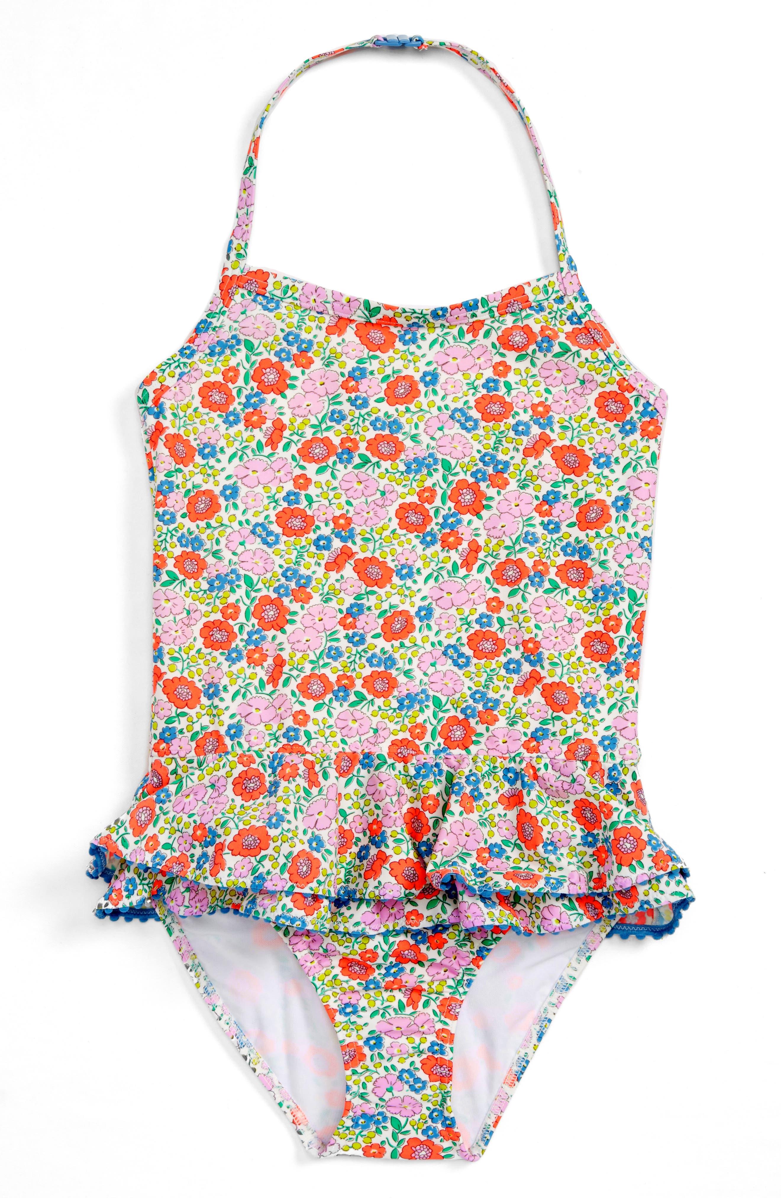Mini Boden Pretty Ruffle One-Piece Swimsuit (Toddler Girls, Little Girls & Big Girls)