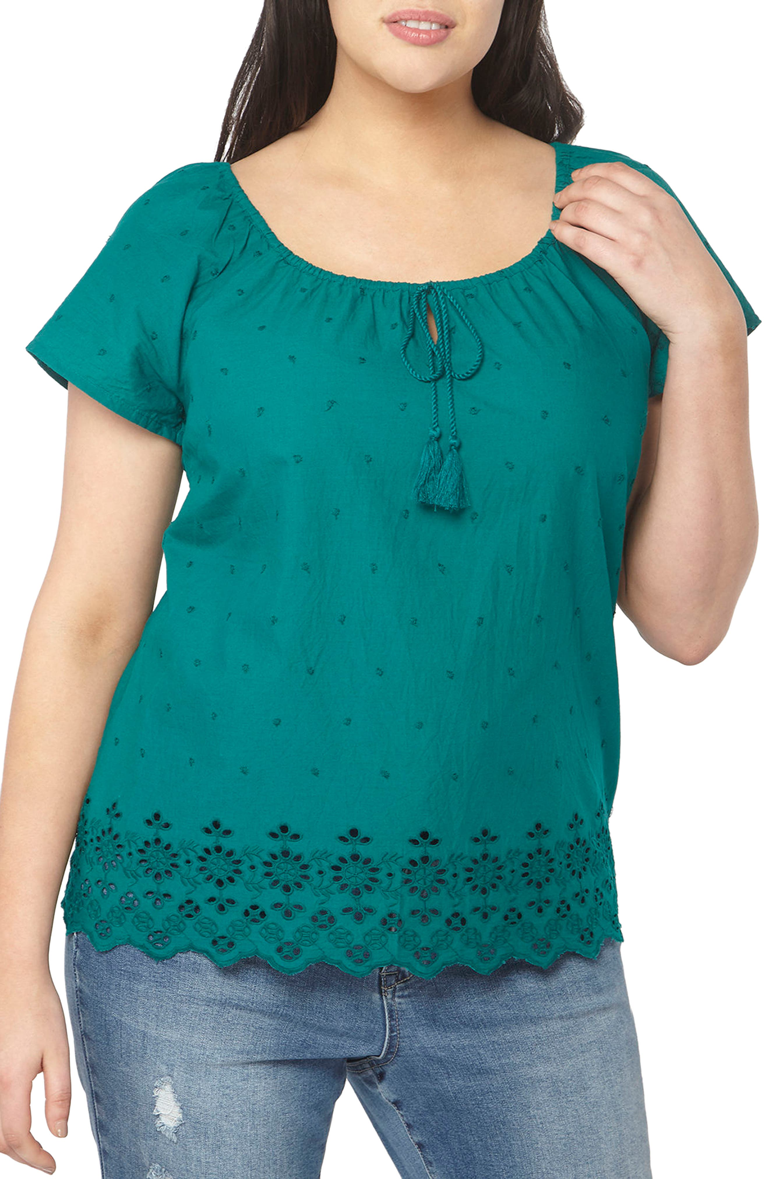 Evans Off the Shoulder Embroidered Top (Plus Size)