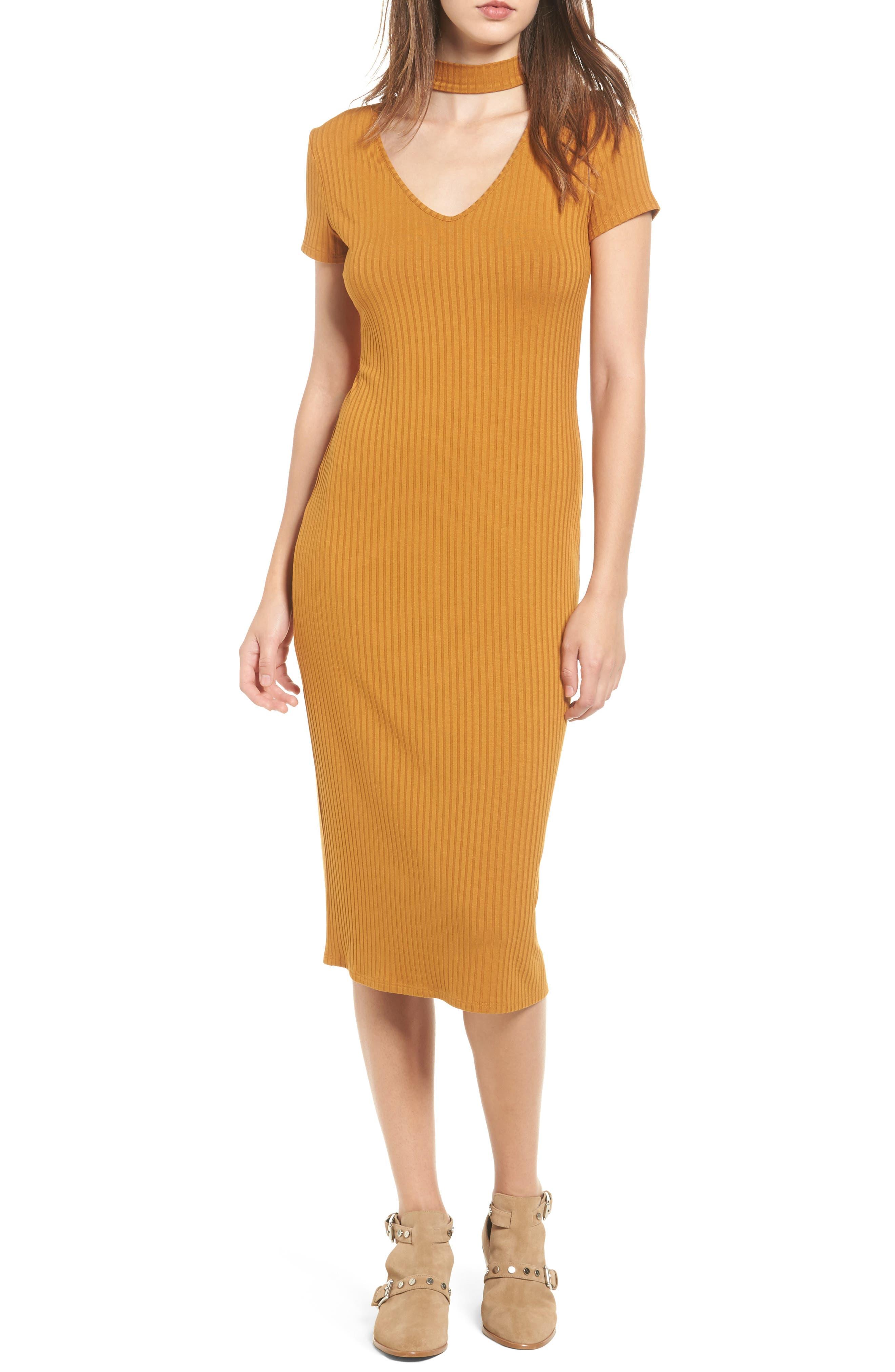 One Clothing Ribbed Choker Midi Dress