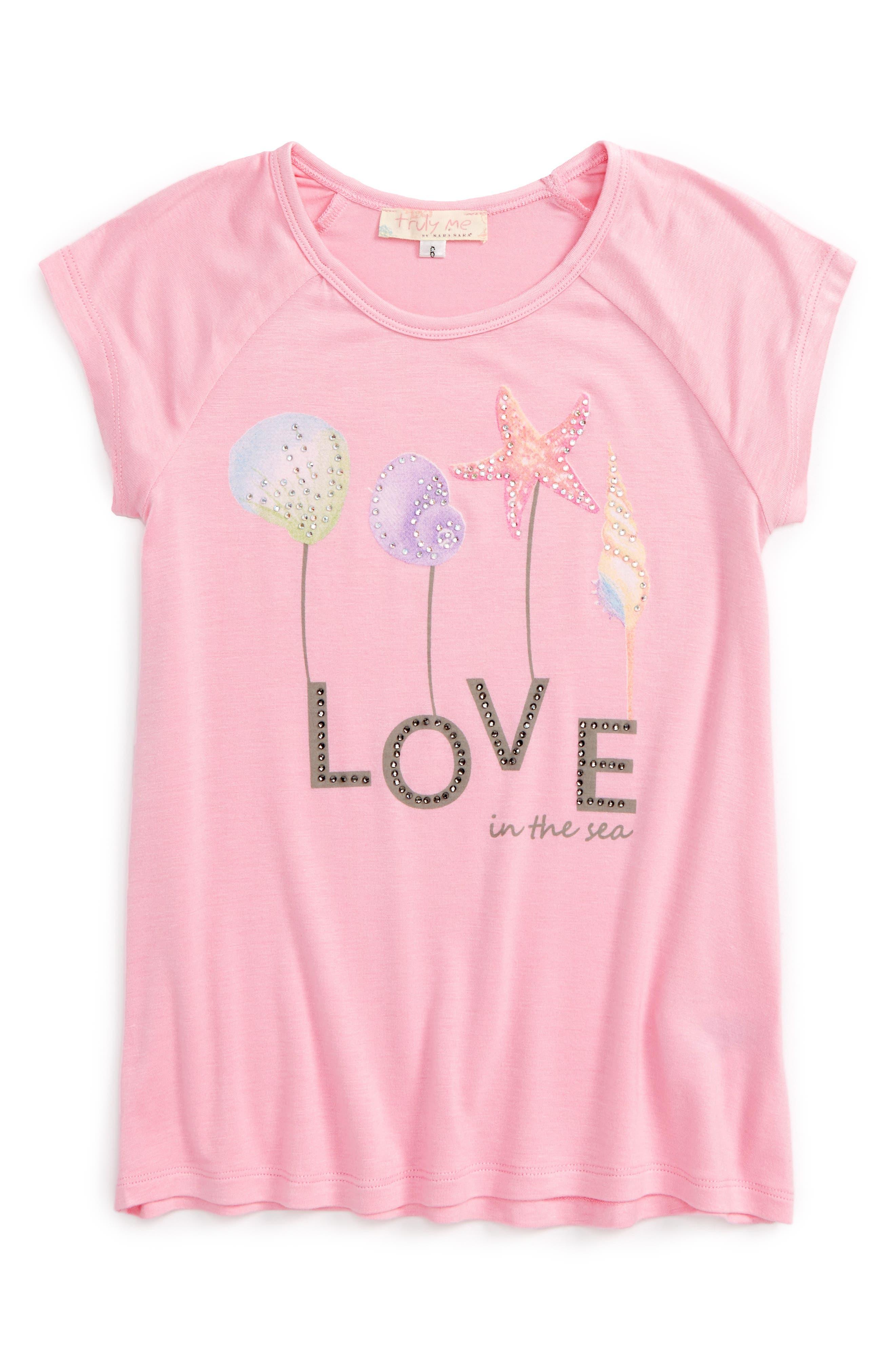 Truly Me Love & Shells Embellished Top (Toddler Girls & Little Girls)