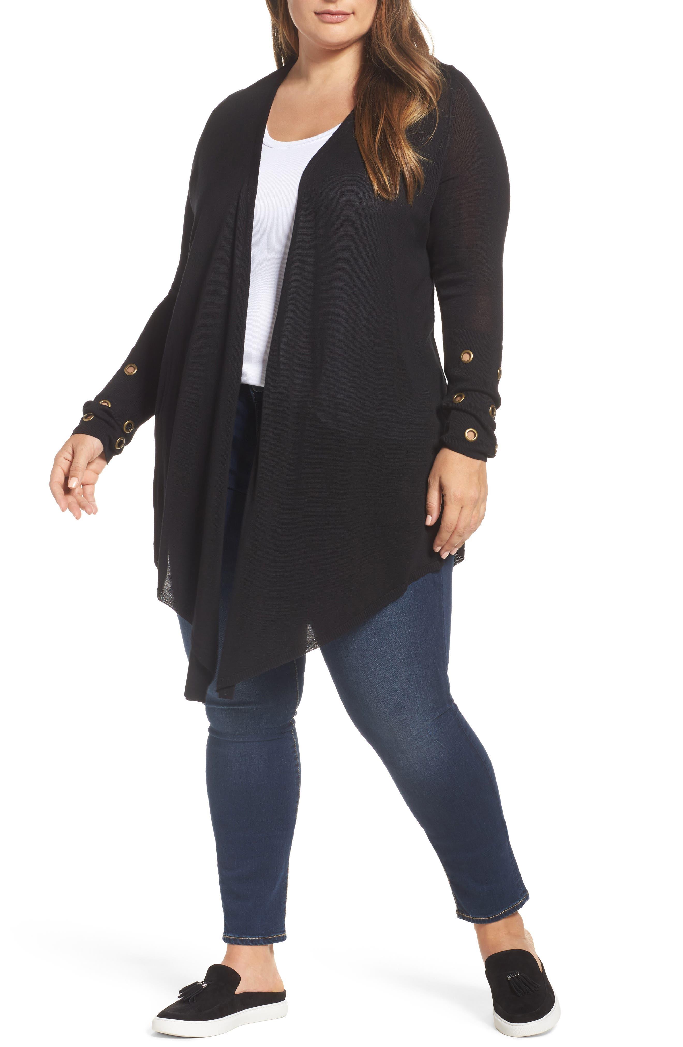 Melissa McCarthy Seven7 Grommet Open Front Cardigan (Plus Size)
