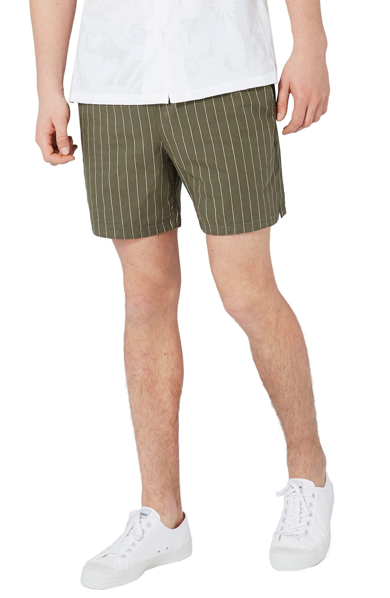 Topman Pinstripe Drawstring Shorts