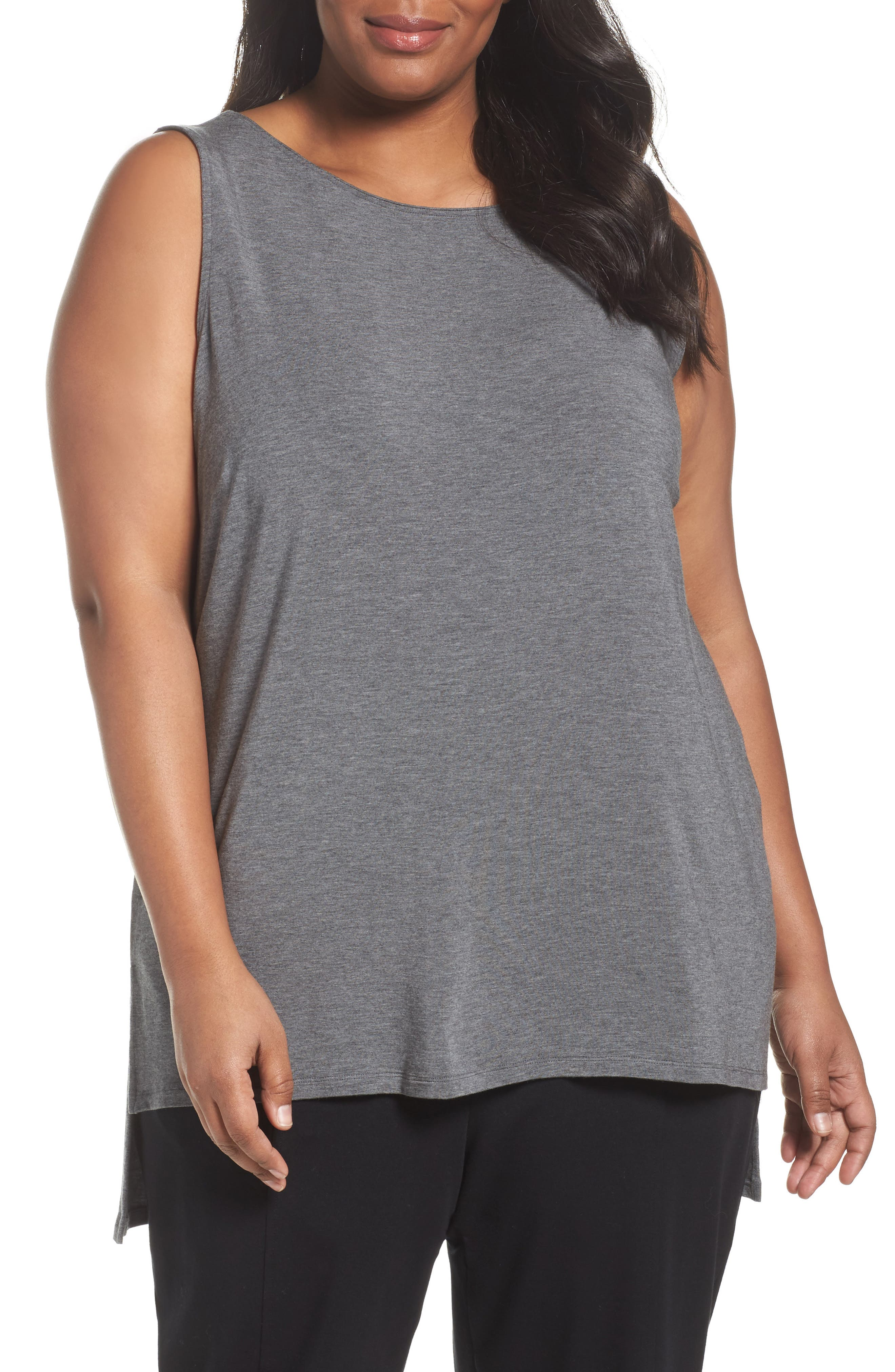 Eileen Fisher Long Stretch Tencel® Bateau Neck Shell (Plus Size)