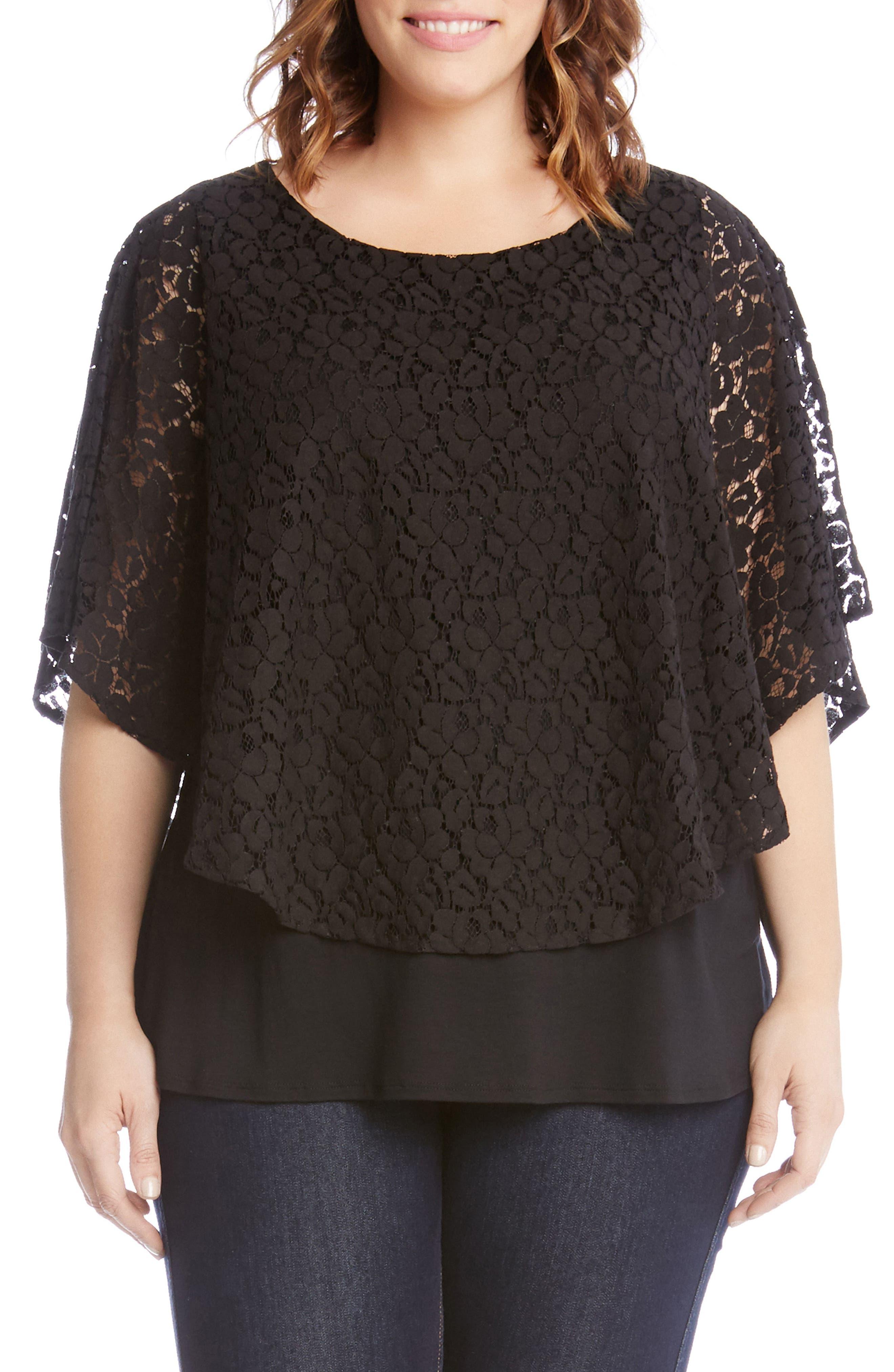 Karen Kane Lace Overlay Top (Plus Size)