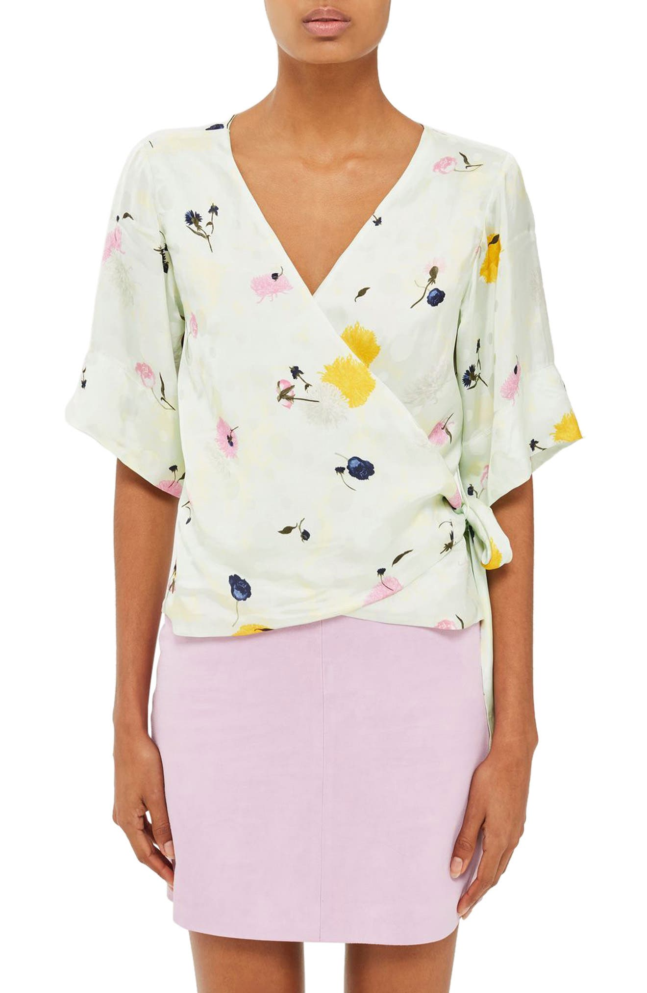 Topshop Boutique Marble Bloom Wrap Top