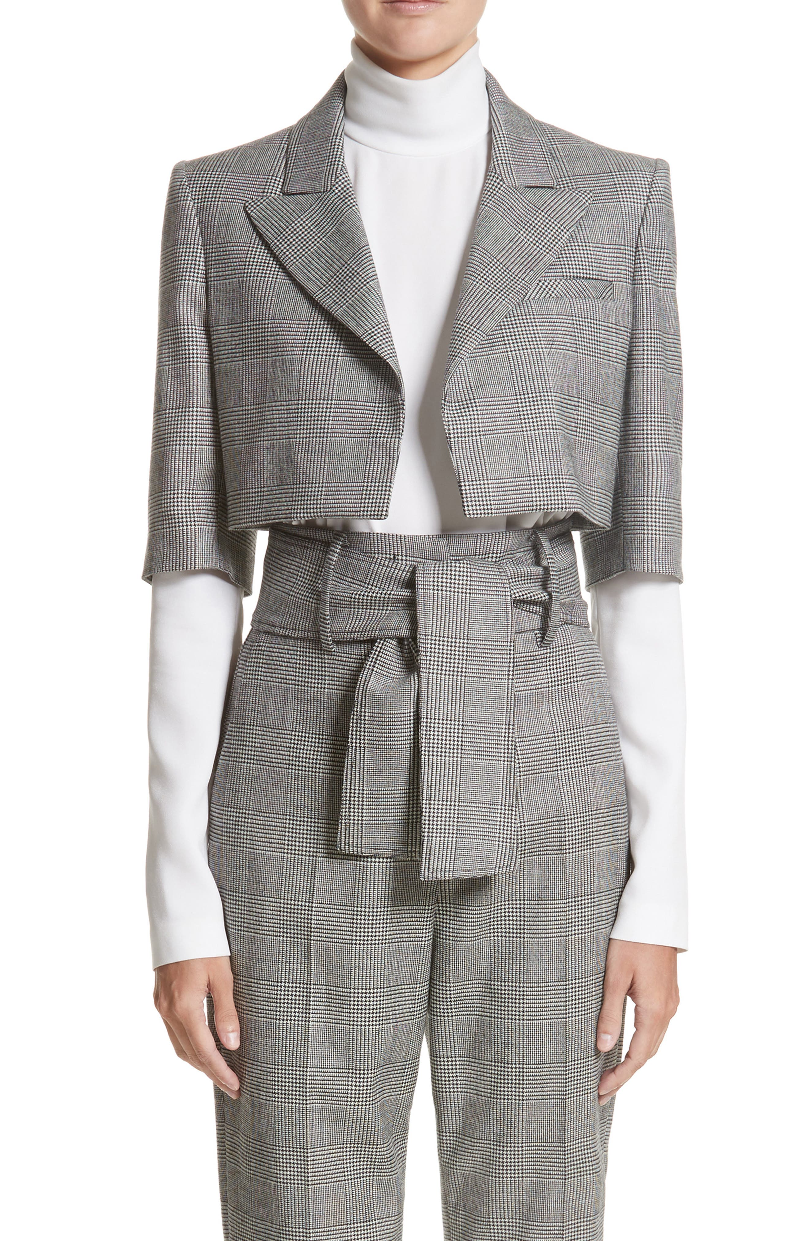 Sara Battaglia Glen Plaid Crop Jacket