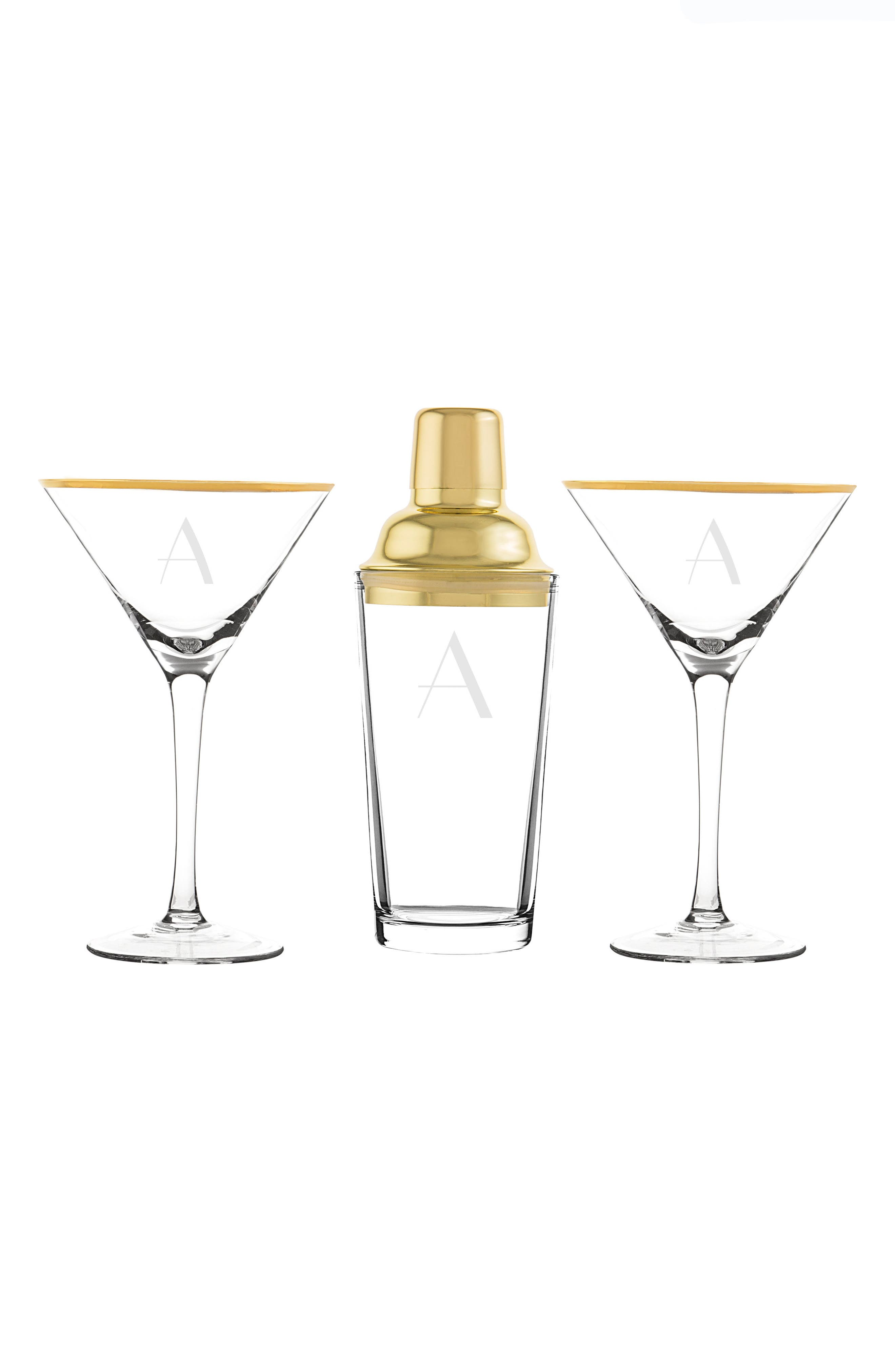 Cathy's Concepts Monogram Martini Glasses & Goldtone Cocktail Shaker