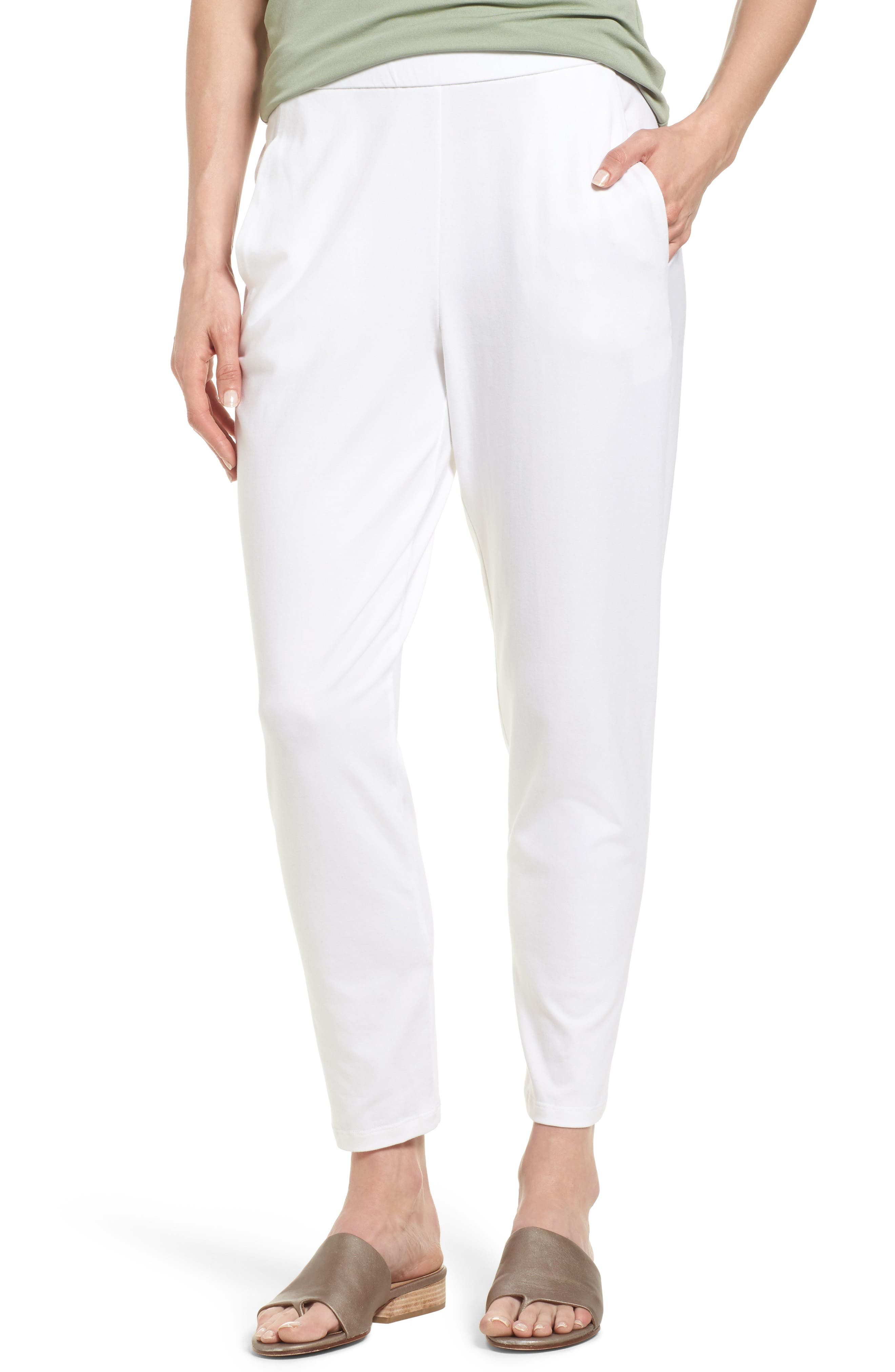 Eileen Fisher Stretch Organic Cotton Slim Slouchy Ankle Pants (Regular & Petite)
