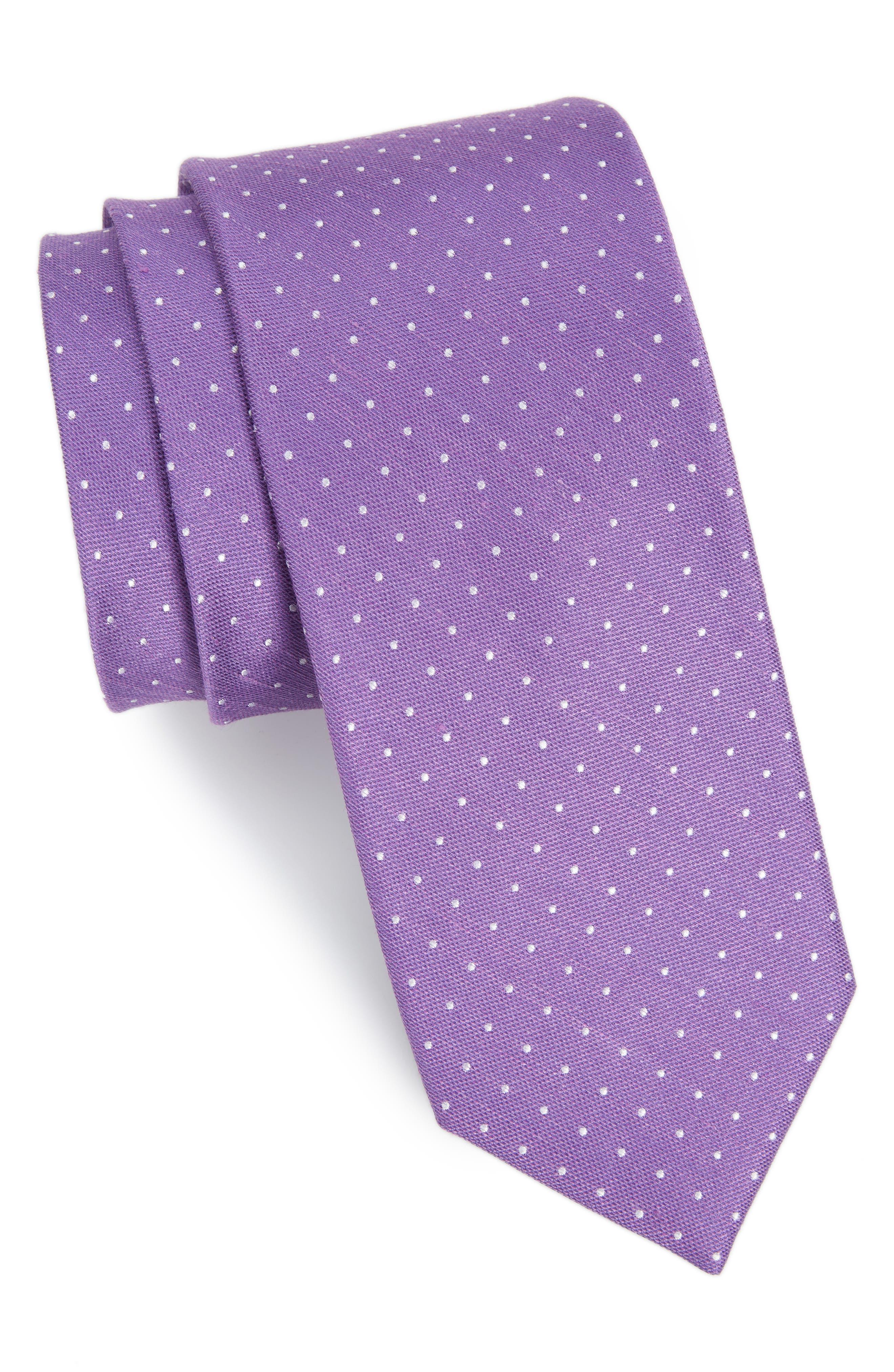 The Tie Bar Rivington Dots Silk & Linen Tie