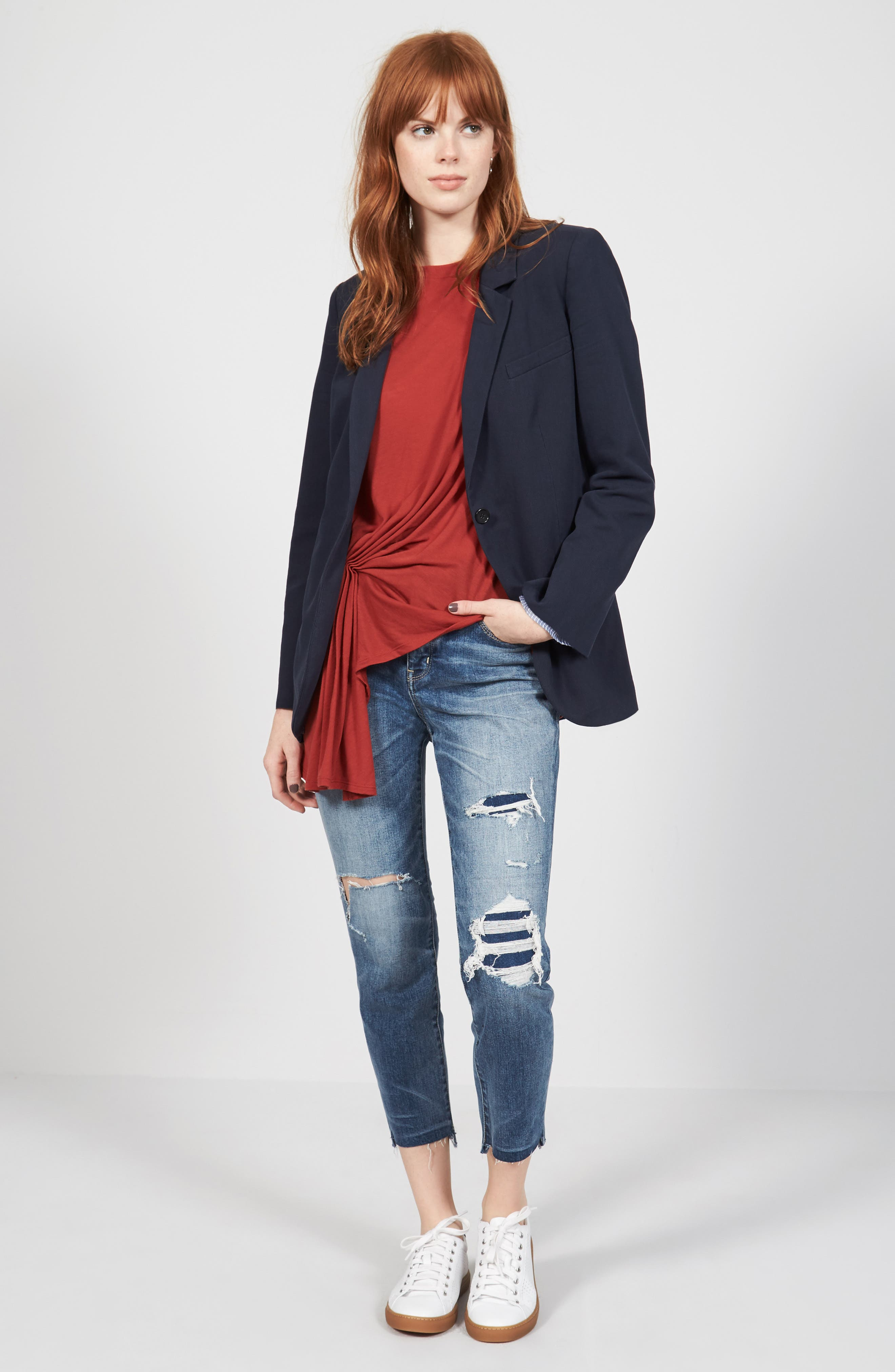 Treasure & Bond Blazer, Tee & Jeans Outfit with Accessories