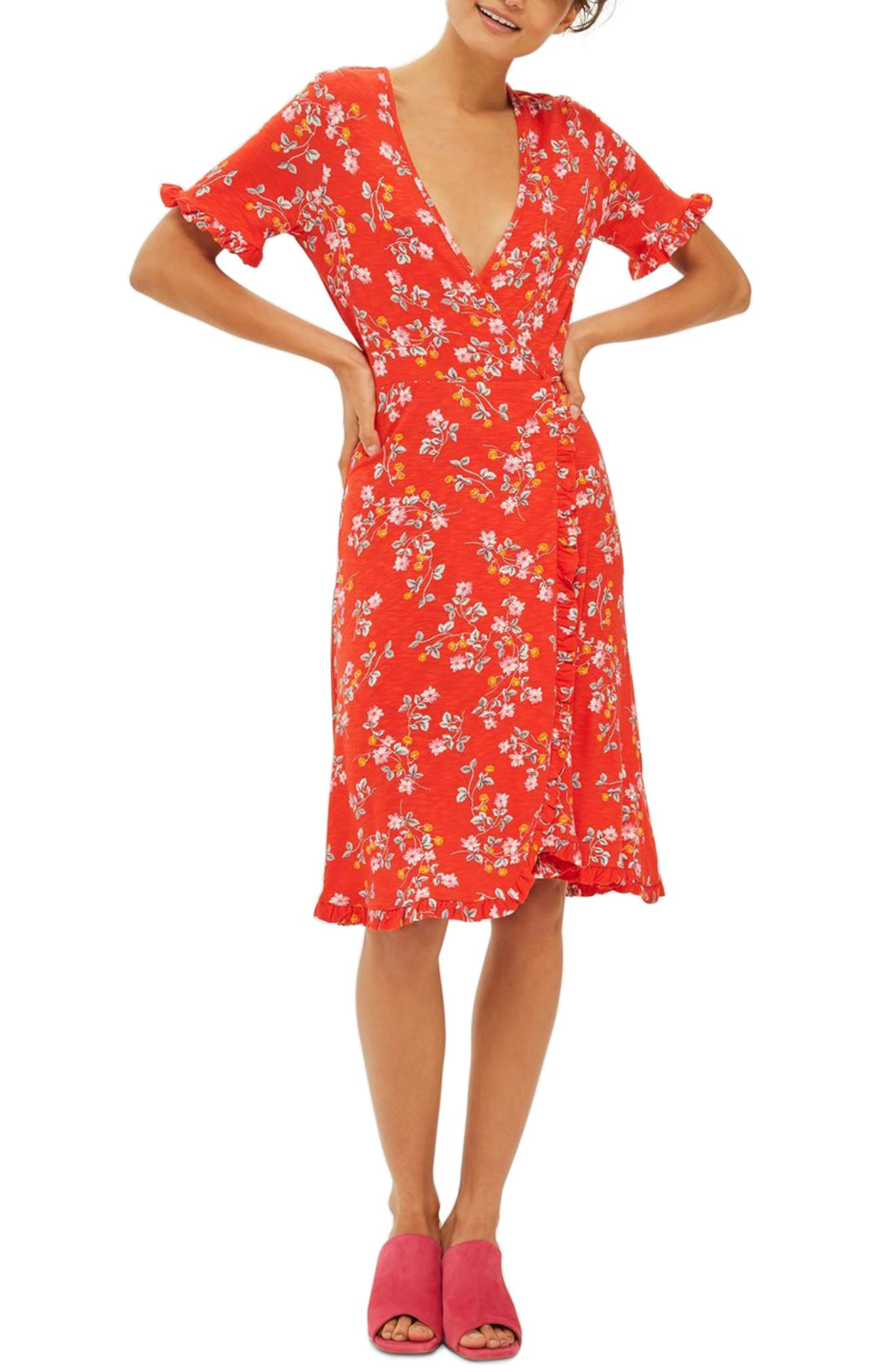 Topshop Disty Ruffle Wrap Dress