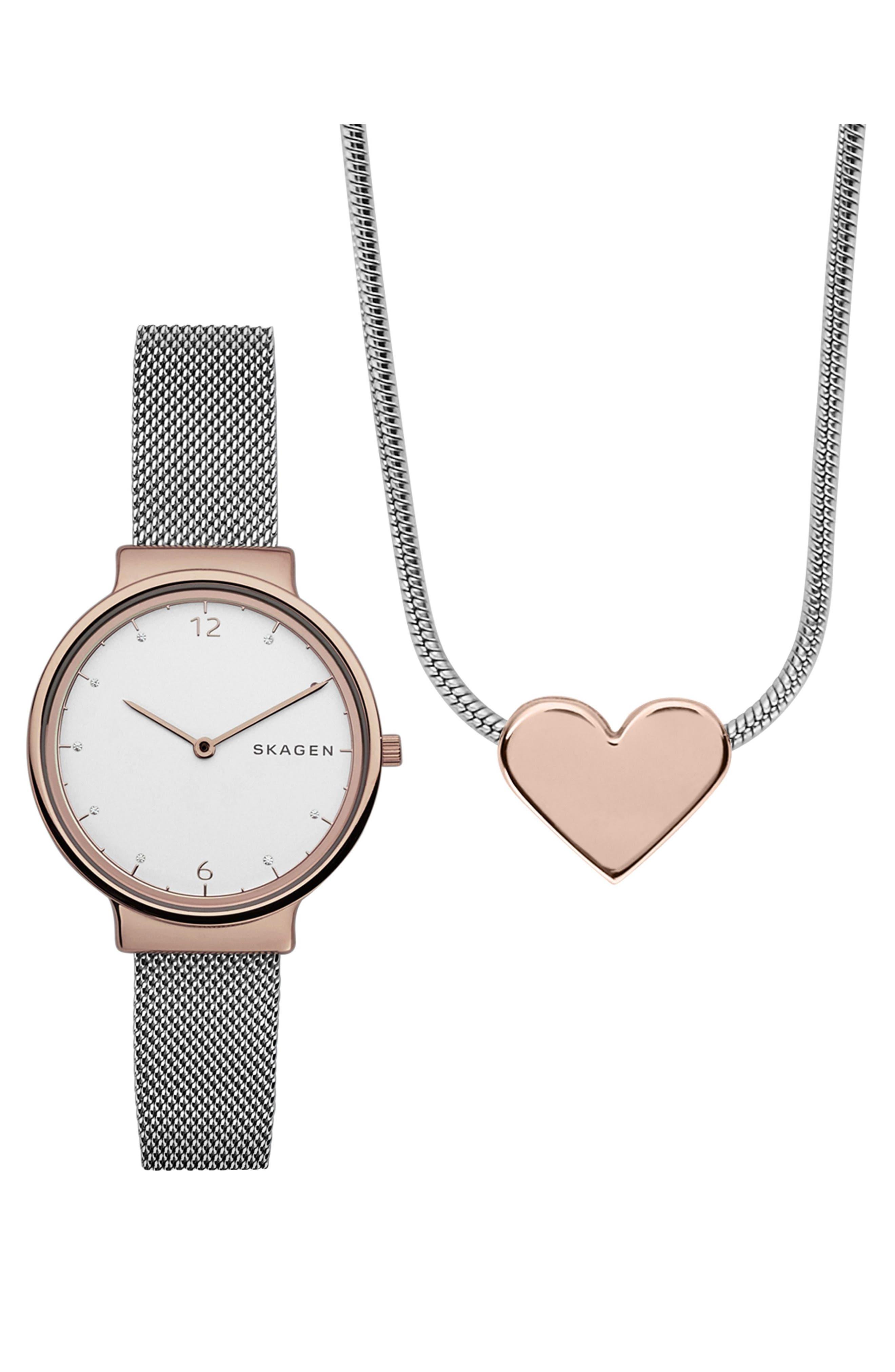 Skagen Ancher Leather Strap Watch & Necklace Set, 34mm