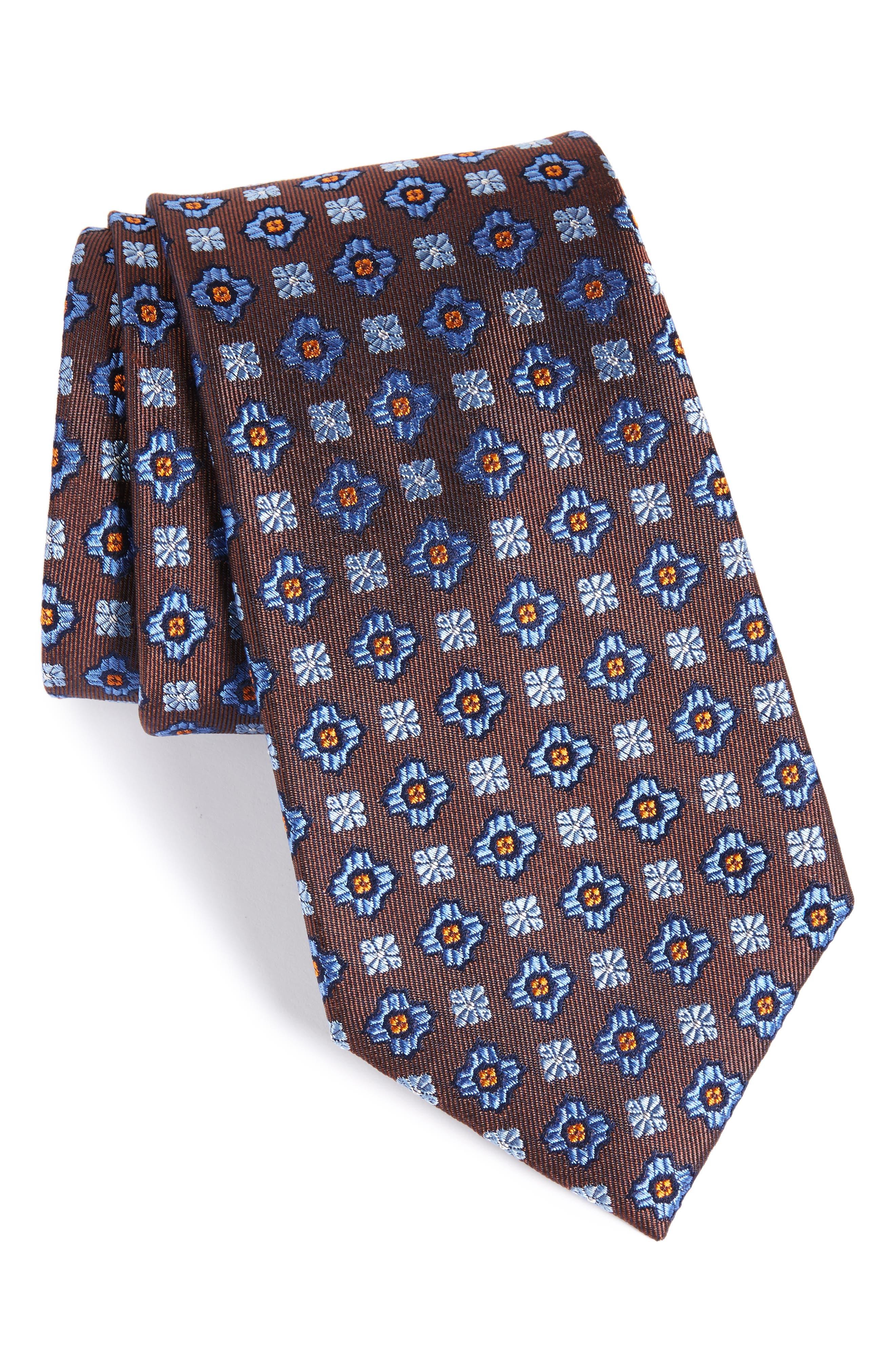 Nordstrom Men's Shop Post Neat Medallion Silk Tie (X-Long)