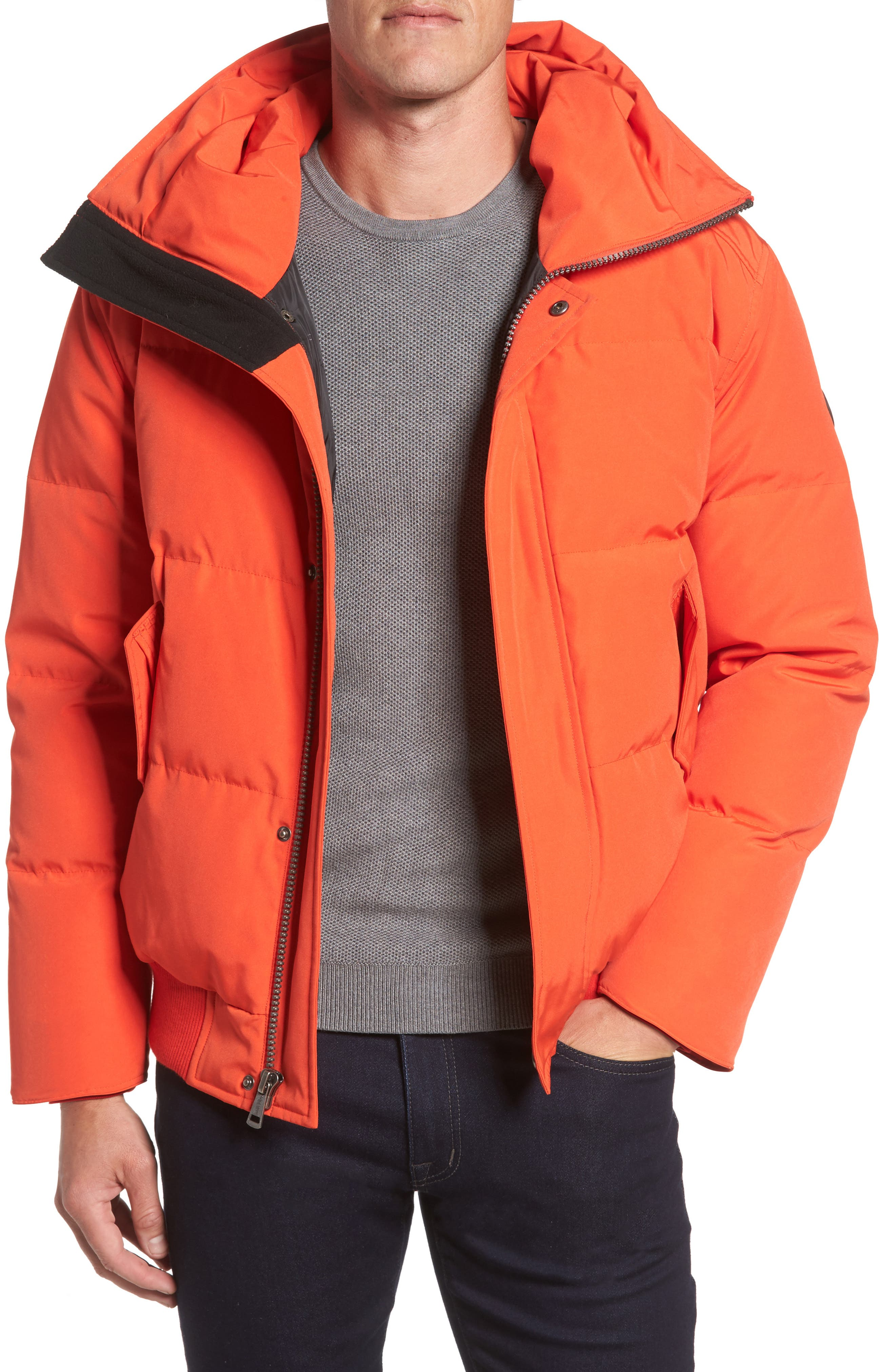 Cole Haan Hooded Down & Feather Fill Bomber Jacket