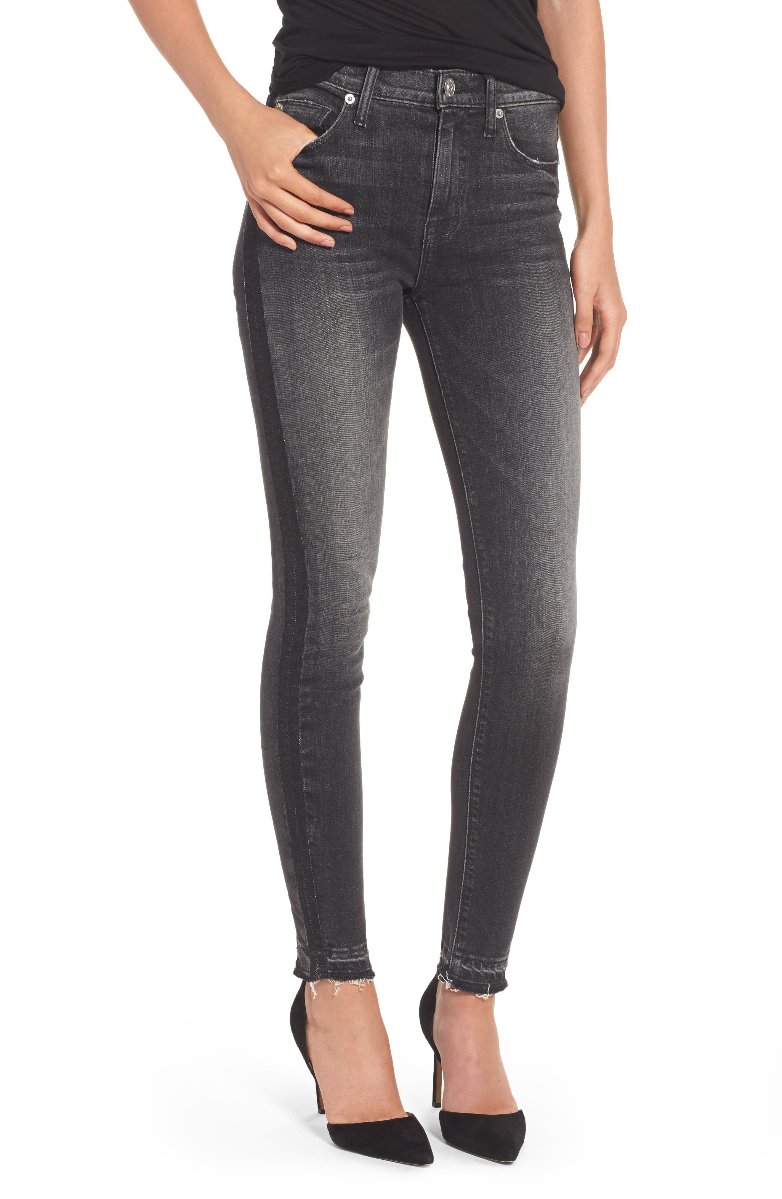 Hudson Jeans Barbara High Waist Super Skinny Jeans (Onix)