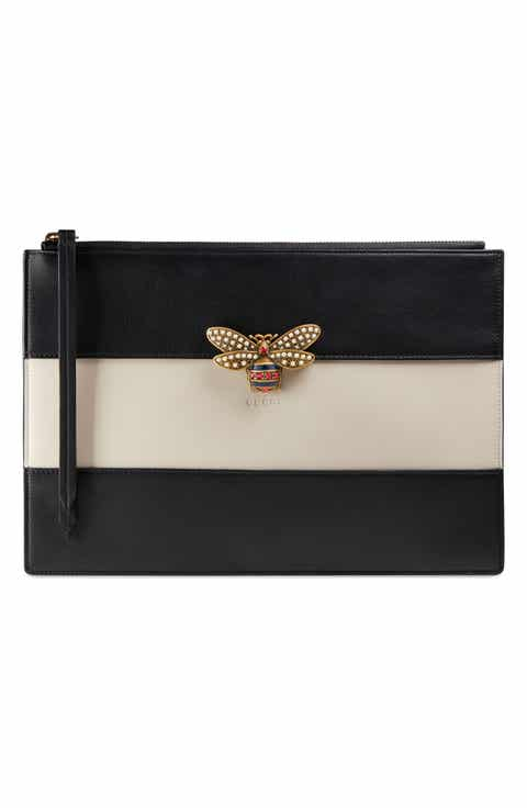 Gucci Bee Stripe Leather Pouch