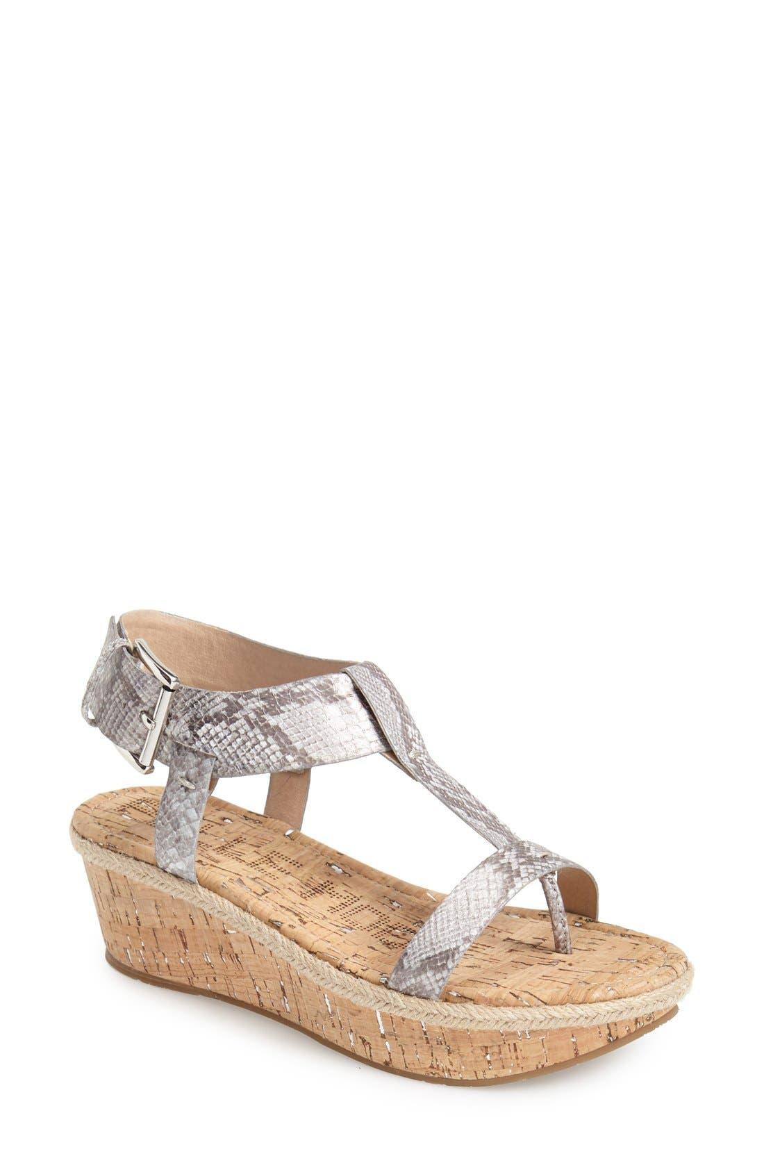 Pelle Moda 'Kann' Platform Wedge T-Strap Sandal (Women)
