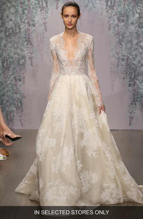 monique lhuillier winslet plunging v neck organza lace ballgown dress in