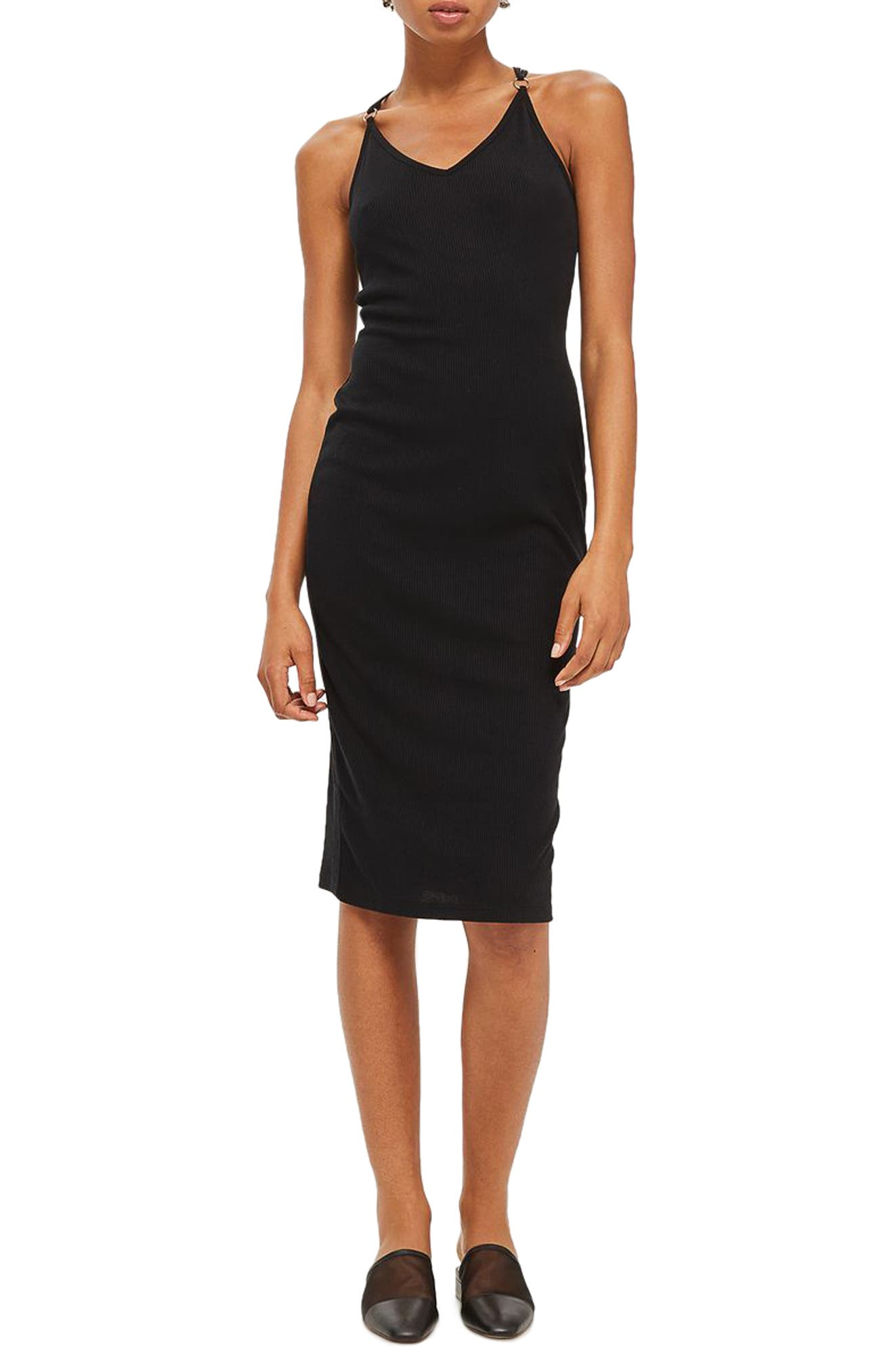 Topshop Lace-Up Back Body-Con Dress