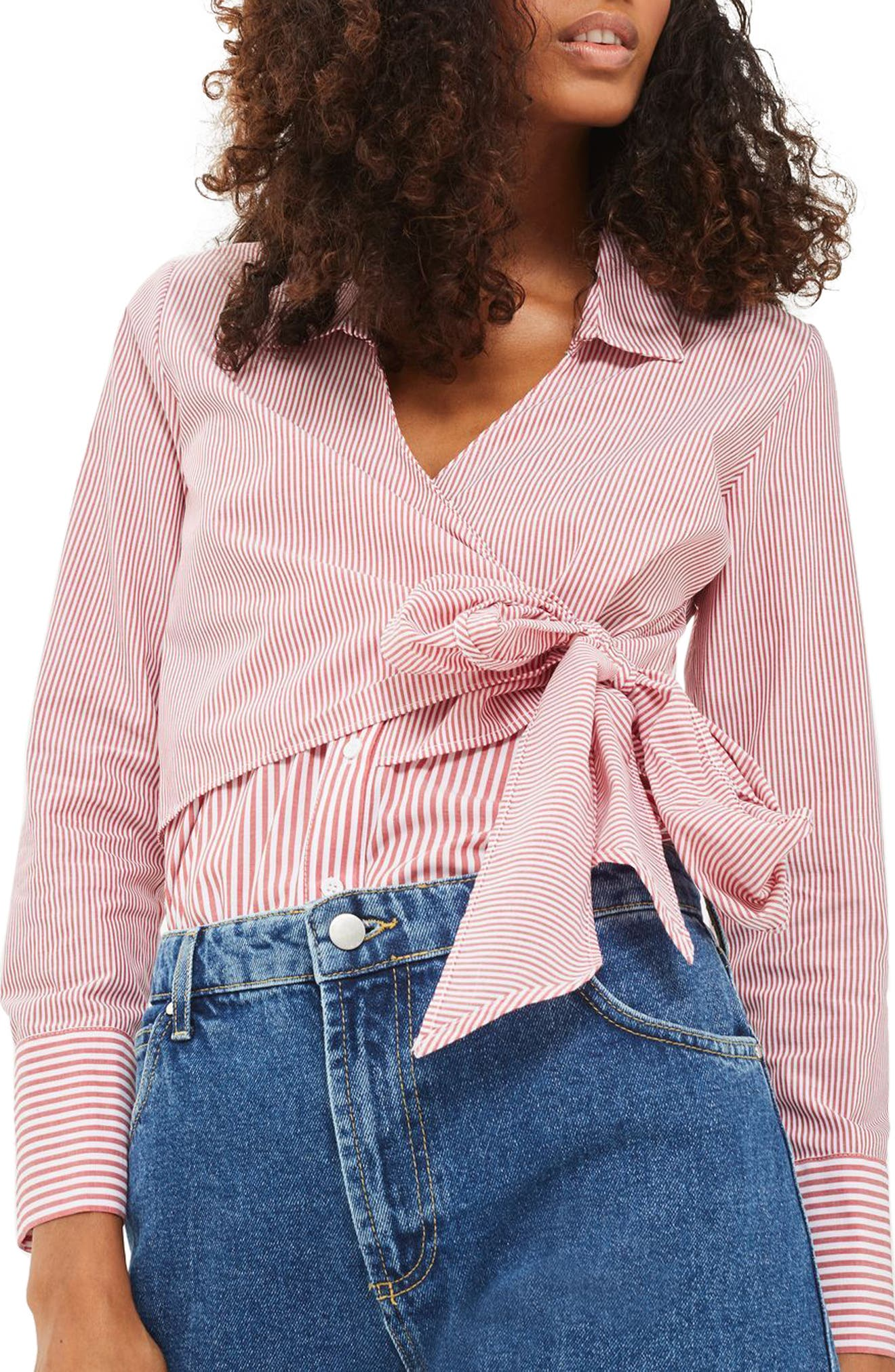 Topshop Tie Wrap Stripe Shirt