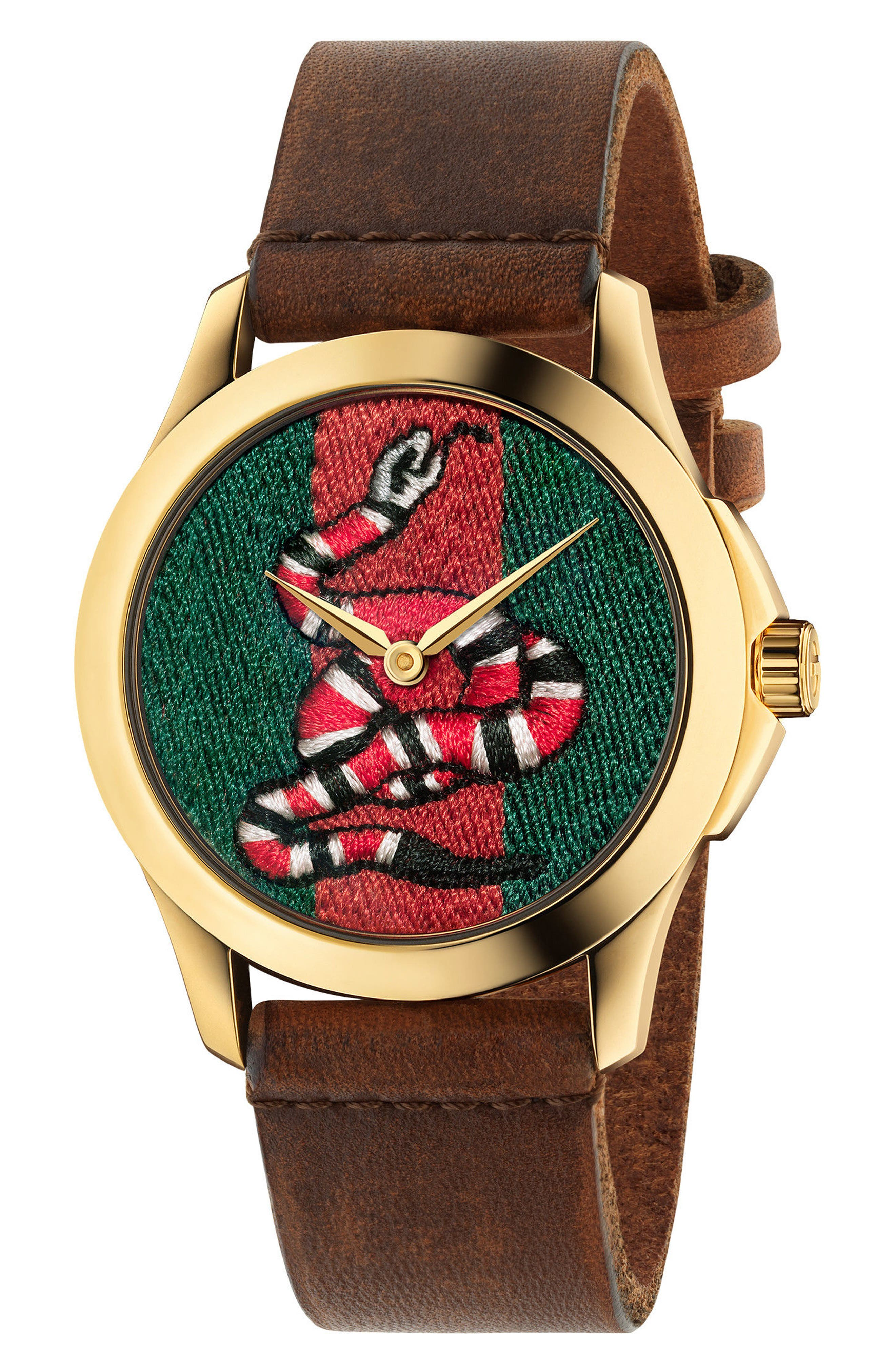 Gucci Snake Insignia Leather Strap Watch, 38mm