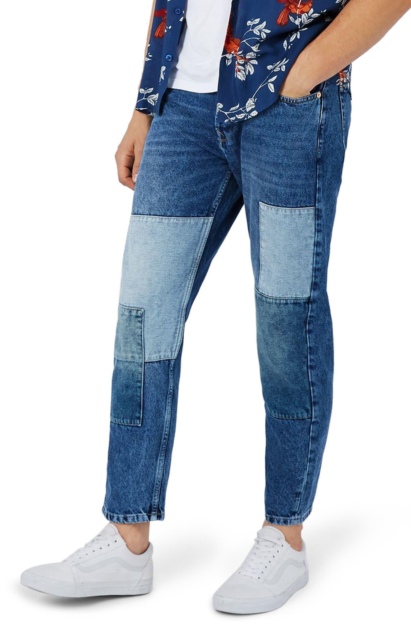 Topman Jigsaw Patch Original Fit Jeans