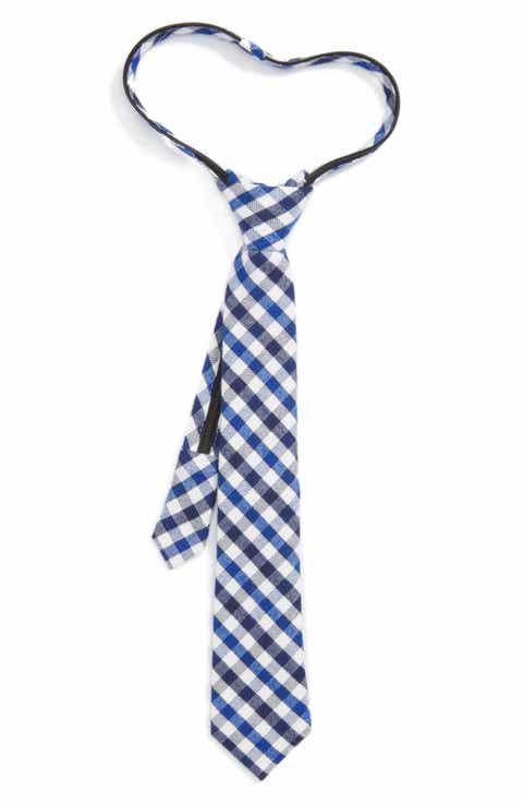 Nordstrom Check Zip Tie (Big Boys)